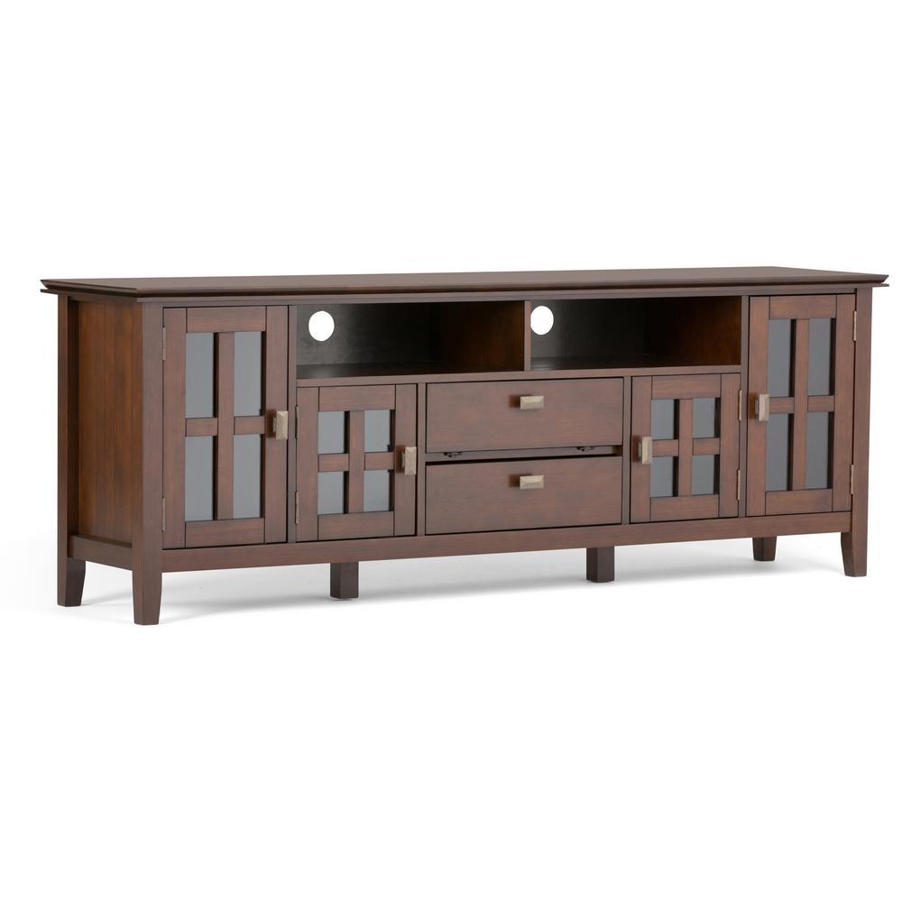 Simpli Home Artisan Medium Auburn Brown 72 In. Tv Media Stand in Brown Wood 72 Inch Sideboards (Image 26 of 30)
