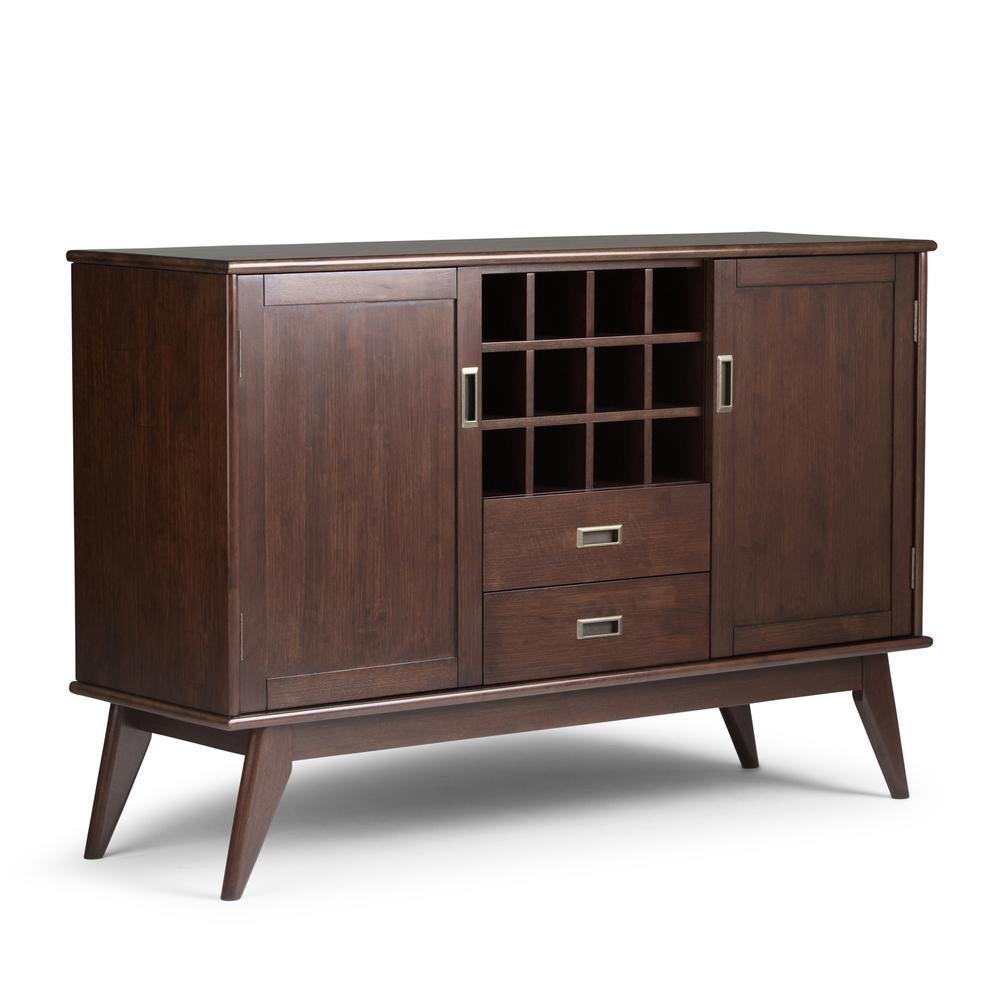 Simpli Home Draper Medium Auburn Brown Buffet With Wine Storage with Amos Buffet Sideboards (Image 27 of 30)