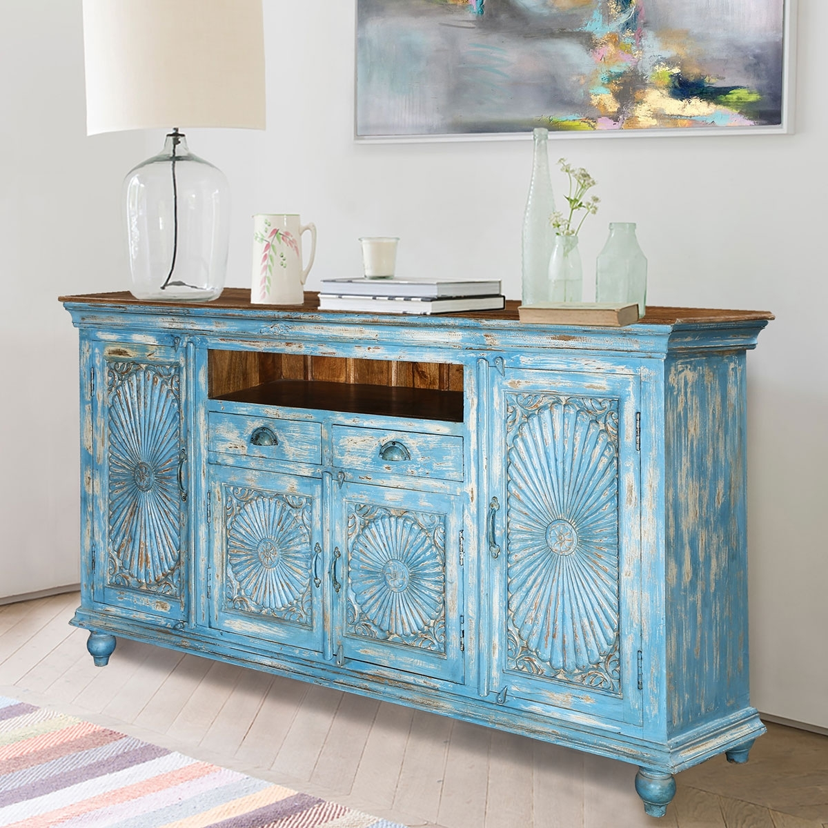 Sky Blue Starburst Handcrafted Mango Wood 2 Drawer Buffet Cabinet in Starburst 3 Door Sideboards (Image 25 of 30)