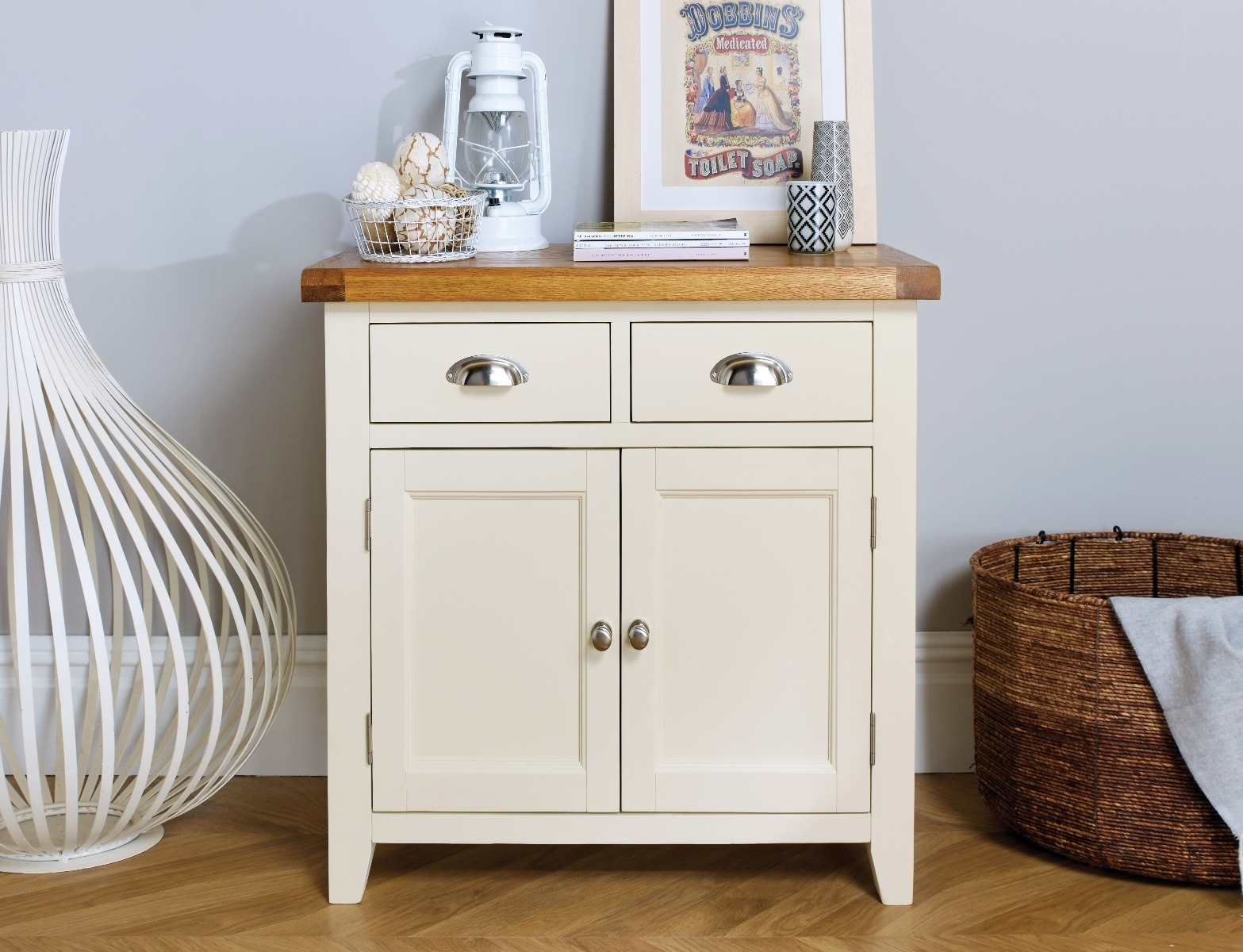 Small Cream Painted Oak Sideboard | 80Cm Country Cottage | Free in Lockwood Sideboards (Image 26 of 30)