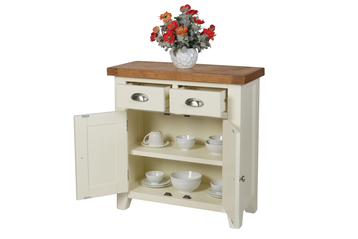 Small Cream Painted Oak Sideboard | 80Cm Country Cottage | Free with regard to Lockwood Sideboards (Image 29 of 30)