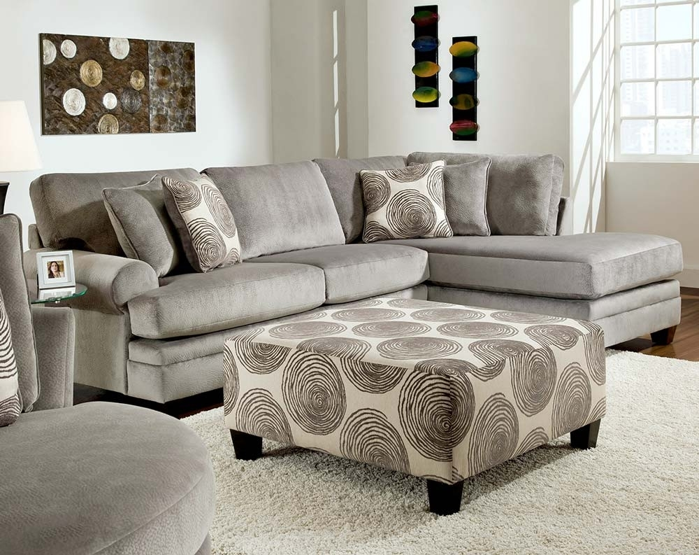 Smoke Gray 2 Piece Microfiber Sectional Sofa | American Freight with Norfolk Chocolate 6 Piece Sectionals With Raf Chaise (Image 27 of 30)