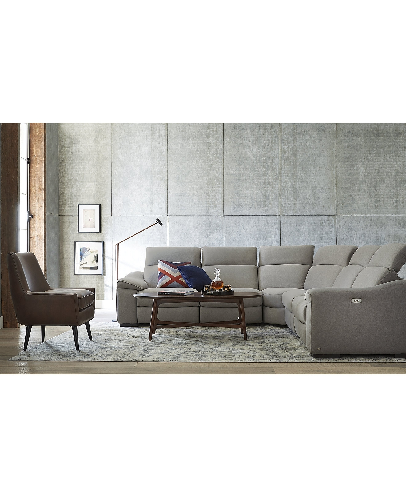 Sofas: Elegant Living Room Sofas Designmacys Sectional Sofa within Travis Cognac Leather 6 Piece Power Reclining Sectionals With Power Headrest & Usb (Image 21 of 30)