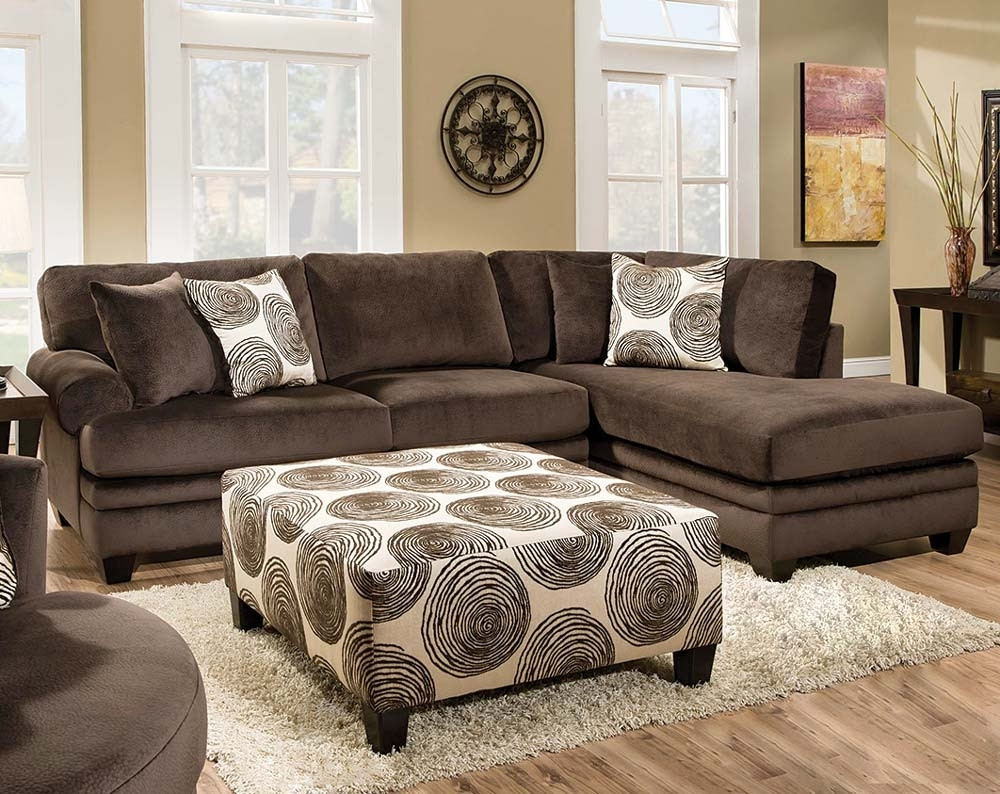 Soft Brown Microfiber Two Piece Sectional Sofa | American Freight with Norfolk Chocolate 6 Piece Sectionals With Raf Chaise (Image 29 of 30)