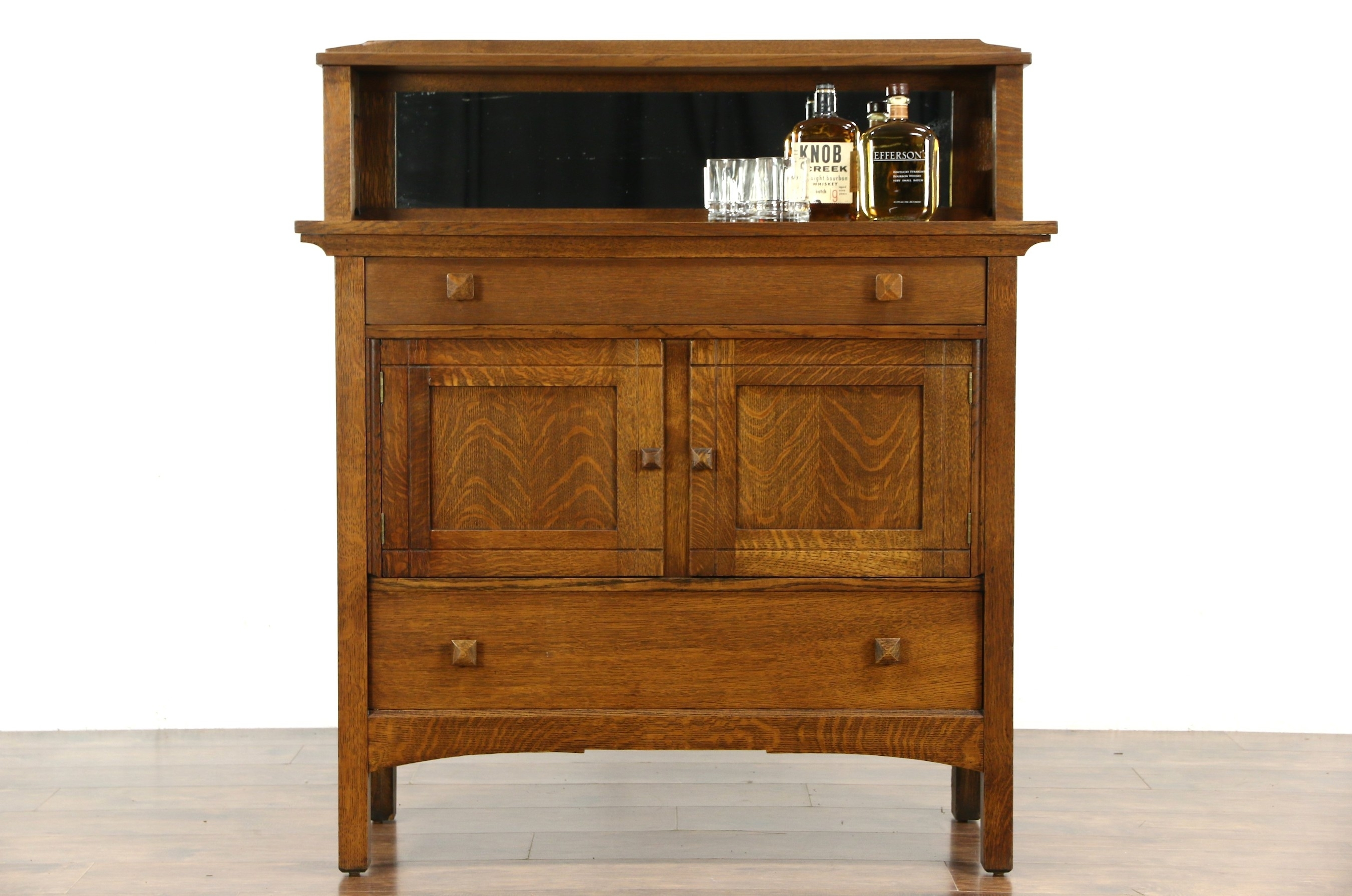Sold - Art & Crafts Mission Oak Antique Craftsman Sideboard Server for Craftsman Sideboards (Image 25 of 30)