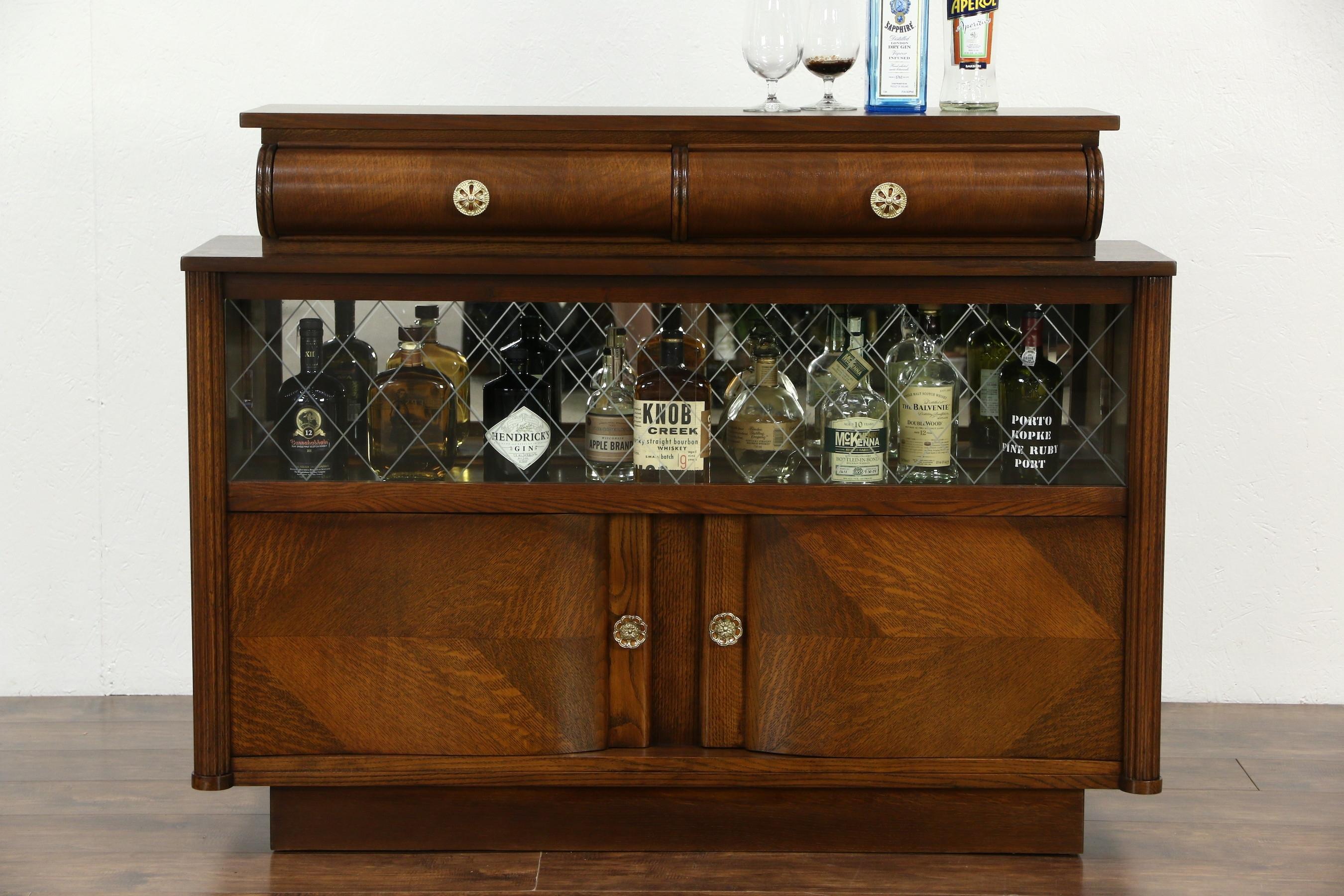 Sold - Art Deco Oak Vintage Scandinavian Sideboard, Bar Cabinet for Vintage 8 Glass Sideboards (Image 21 of 30)