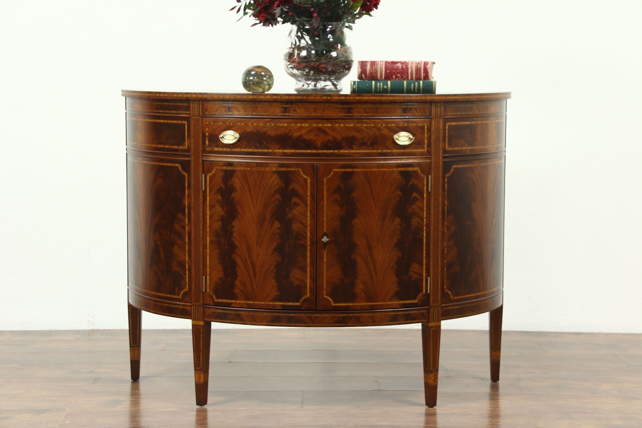 Sold - Demilune Half Round Vintage Sideboard Or Console Cabinet for Vintage Brown Textured Sideboards (Image 16 of 30)