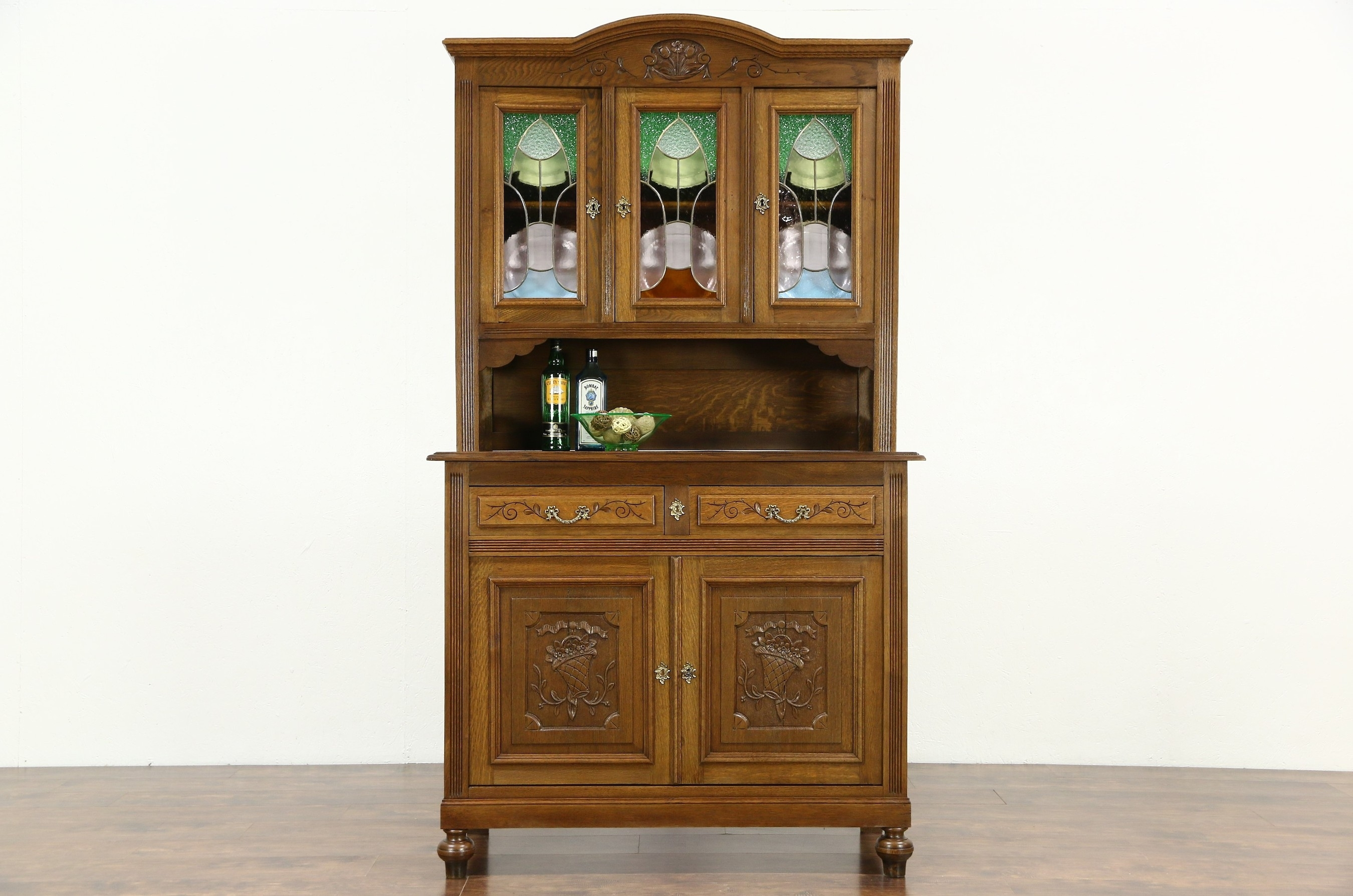 Sold - Oak Scandinavian 1910 Antique Sideboard & China Cabinet pertaining to Vintage 8 Glass Sideboards (Image 22 of 30)