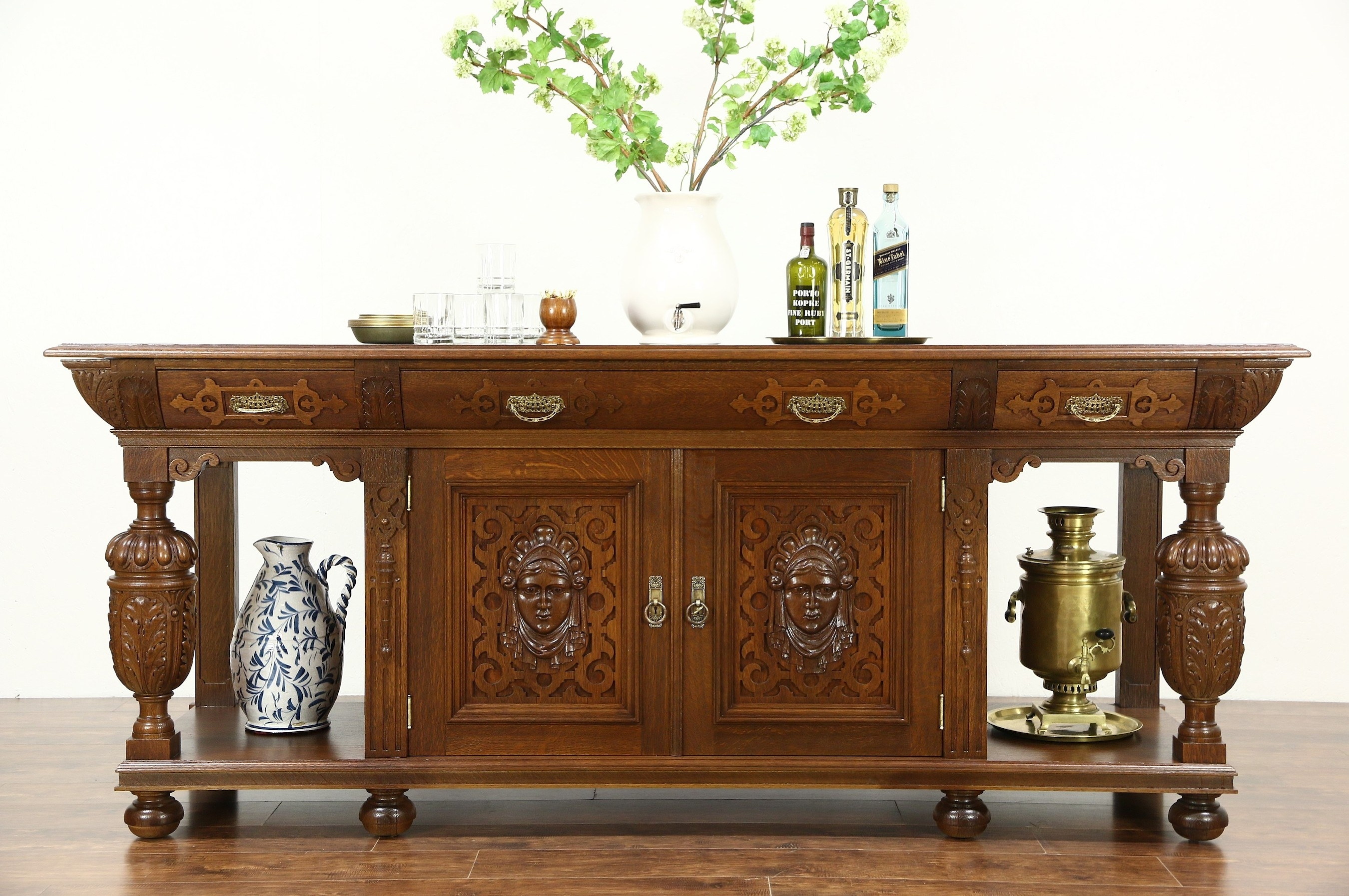 """Sold - Renaissance 93"""" Oak Antique 1900 Sideboard, Server, Console with Aged Brass Sideboards (Image 26 of 30)"""