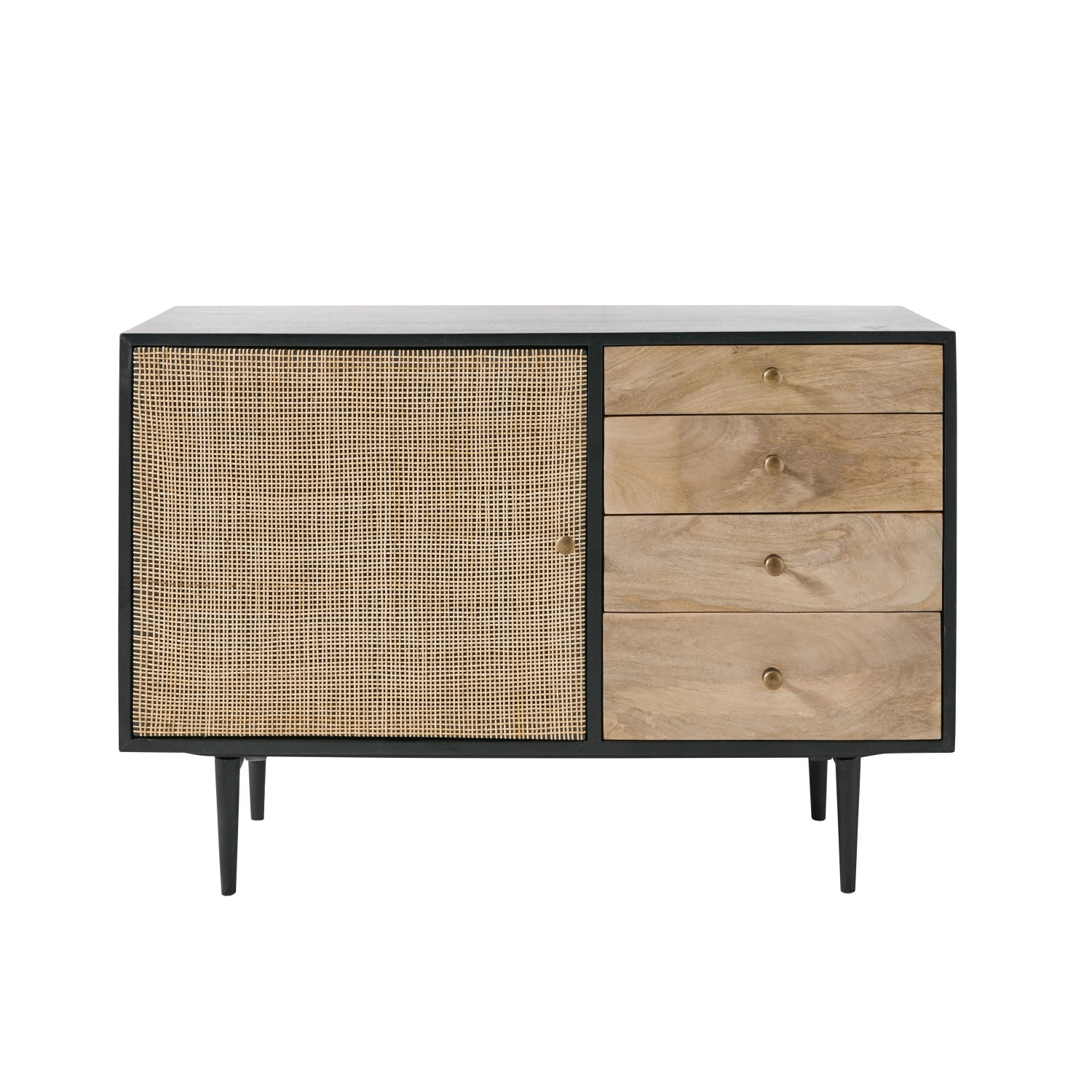 Solid Mango Wood And Acacia 1-Door 4-Drawer Sideboard | Maisons Du Monde with regard to Acacia Wood 4-Door Sideboards (Image 25 of 30)