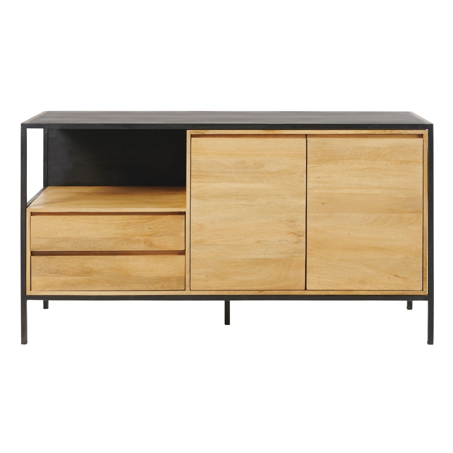 Solid Mango Wood And Black Metal 2-Door 2-Drawer Sideboard | Maisons with regard to Mango Wood 2-Door/2-Drawer Sideboards (Image 27 of 30)