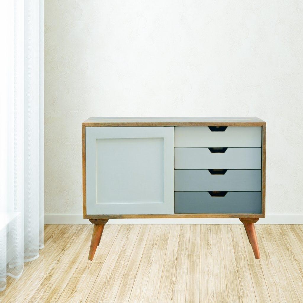 Solid Mango Wood Graduated Two Tone 4 Drawer 1 Door Cabinet – Nico Pertaining To Mango Wood Grey 4 Drawer 4 Door Sideboards (View 22 of 30)
