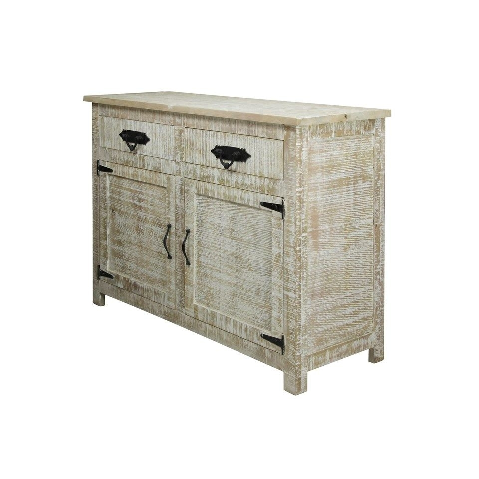 Solid Mango Wood Sideboard In Distressed White Wash Finish | 2 Door with White Wash 2-Door Sideboards (Image 21 of 30)