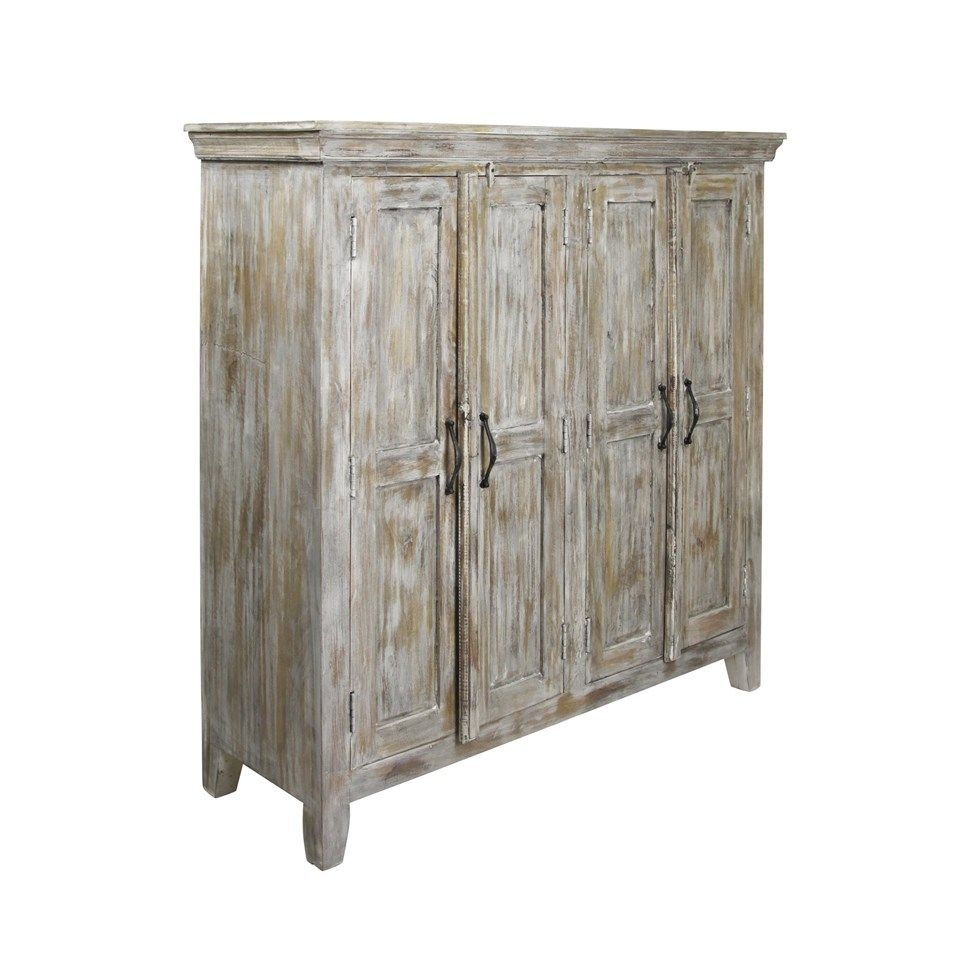 Solid Mango Wood Sideboard In Distressed White Wash Finish | 4 Doors For Mango Wood Grey 4 Drawer 4 Door Sideboards (View 20 of 30)