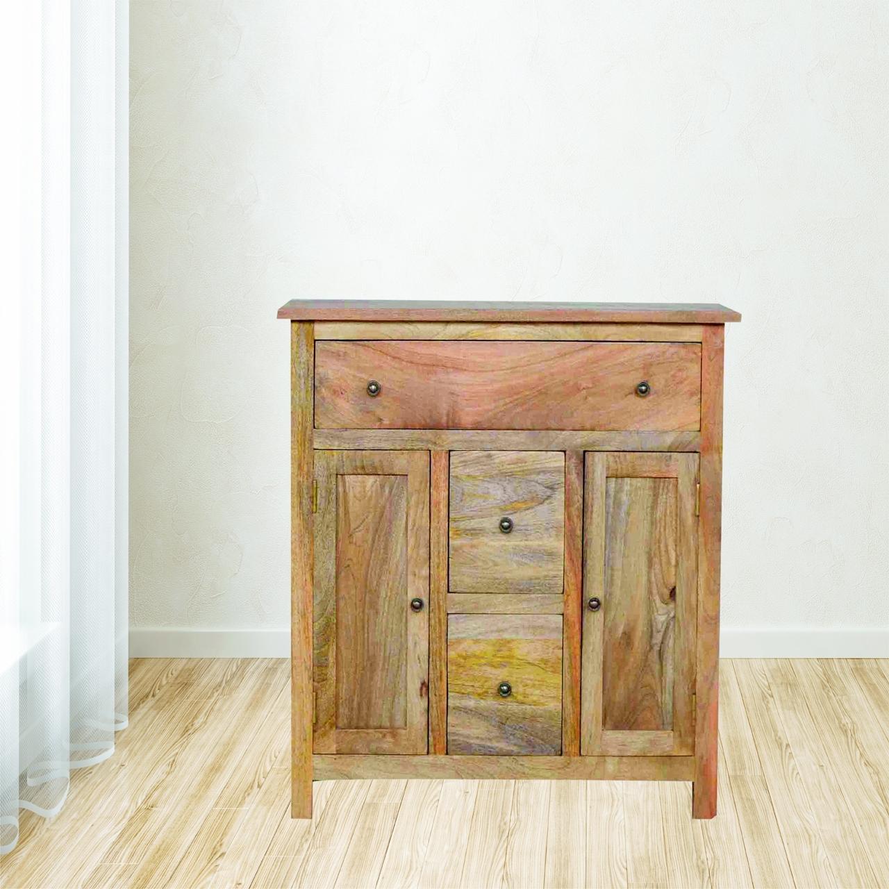 Solid Wood Sideboard - 2 Doors & 3 Drawers - Lm Furnishings in Mango Wood 2-Door/2-Drawer Sideboards (Image 28 of 30)