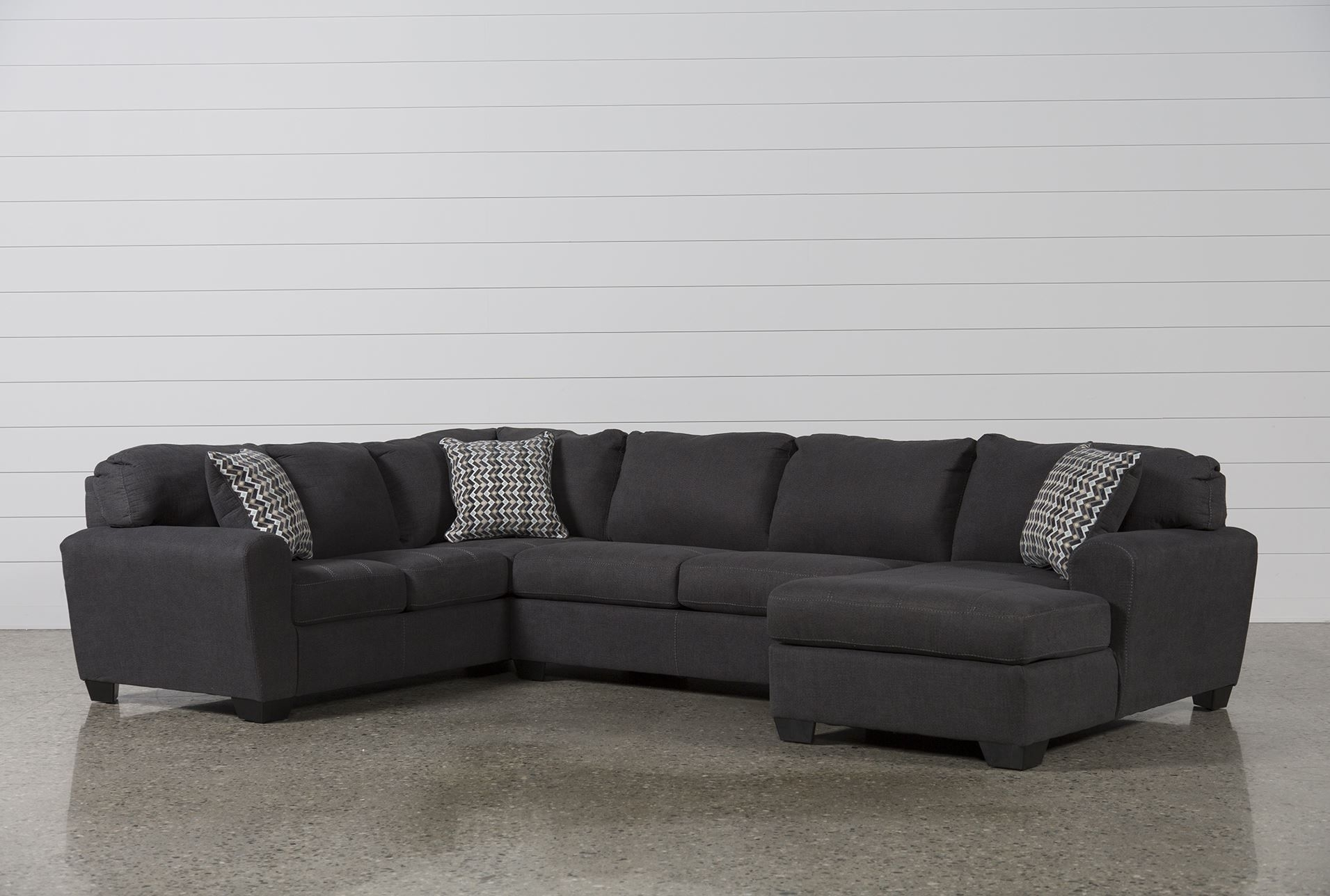 Sorenton Slate 3 Piece Sectional W/raf Chaise | Decorate in Harper Foam 3 Piece Sectionals With Raf Chaise (Image 28 of 30)