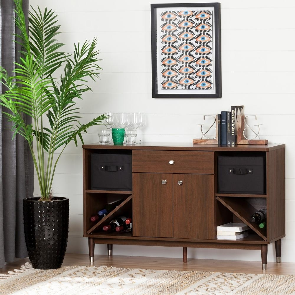 South Shore Olly Brown Walnut 1-Drawer Storage Cabinet-10522 - The throughout Walnut Finish Crown Moulding Sideboards (Image 29 of 30)