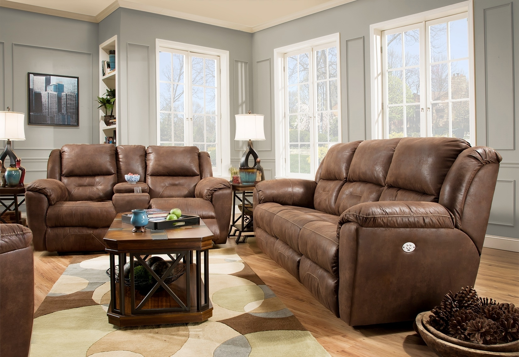Southern Motion Furniture Products for Travis Cognac Leather 6 Piece Power Reclining Sectionals With Power Headrest & Usb (Image 23 of 30)
