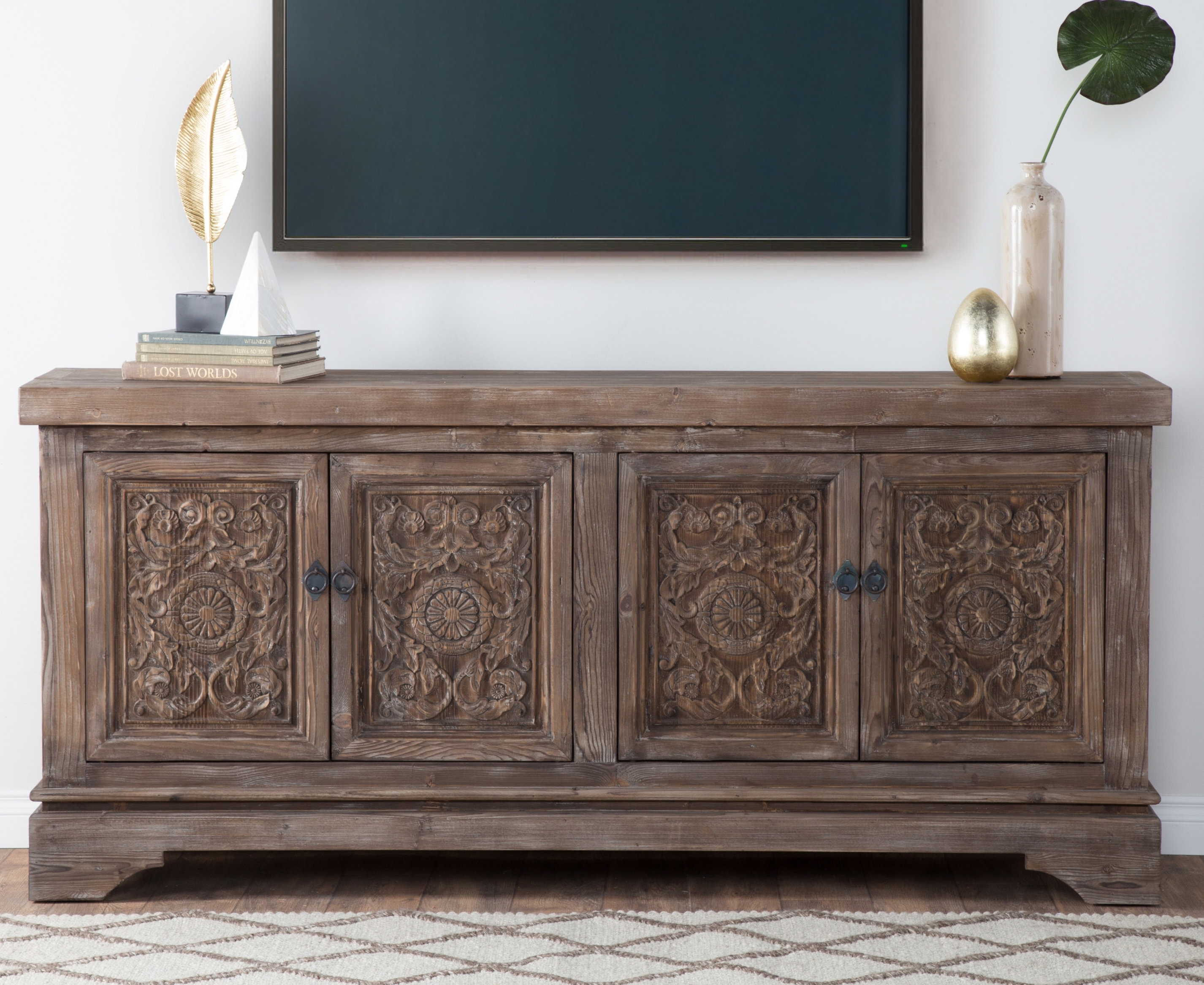 Steinhatchee Reclaimed Pine 4 Door Sideboard & Reviews | Birch Lane for Reclaimed Sideboards With Metal Panel (Image 25 of 30)