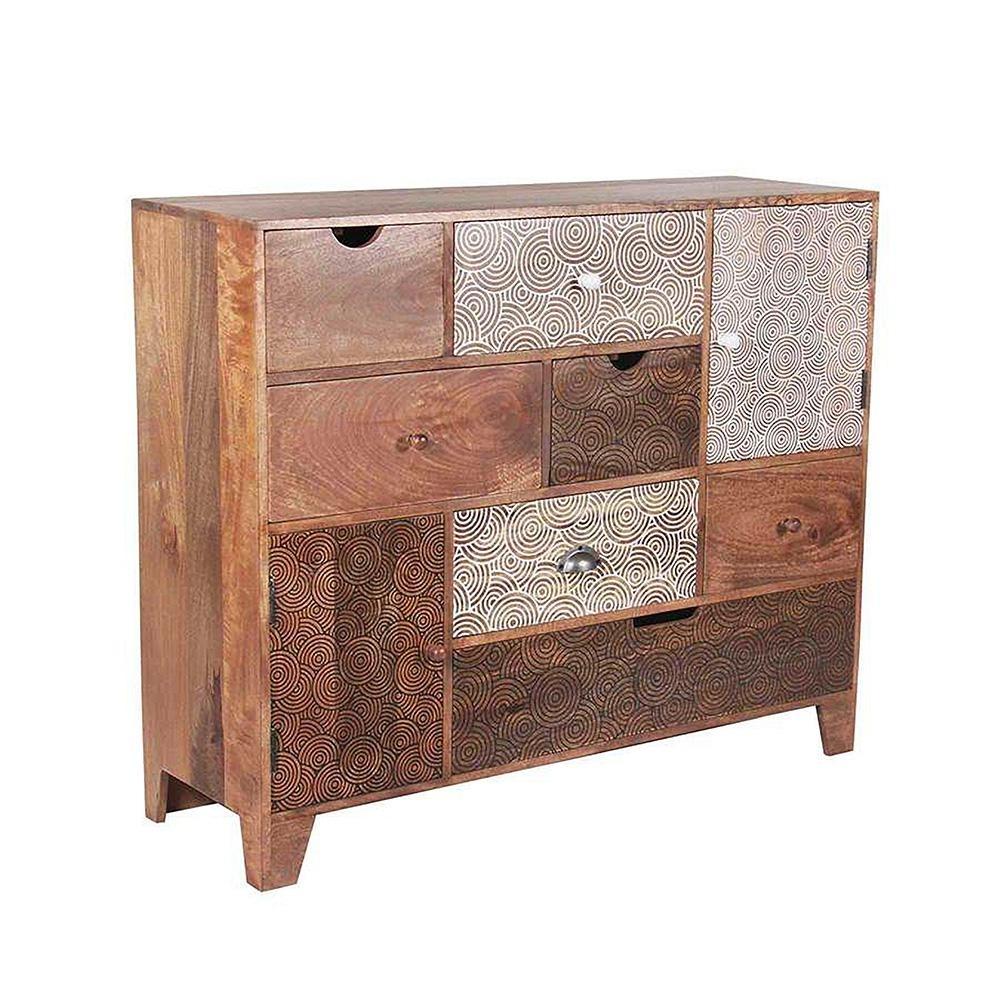 Steve Silver Company Gloria Multi Drawer Sideboard Mango Wood With regarding Black Oak Wood And Wrought Iron Sideboards (Image 27 of 30)