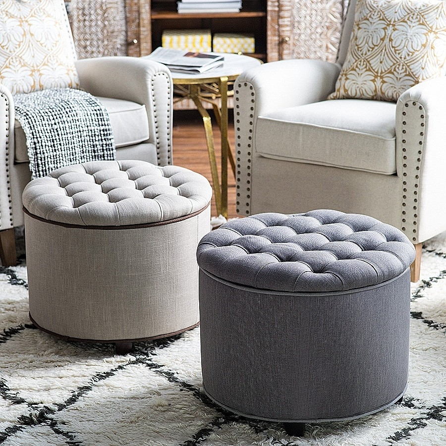 Storage Bench: Luxury Grey Tufted Storage Ben ~ Amidhararesorts pertaining to Tatum Dark Grey 2 Piece Sectionals With Laf Chaise (Image 23 of 30)