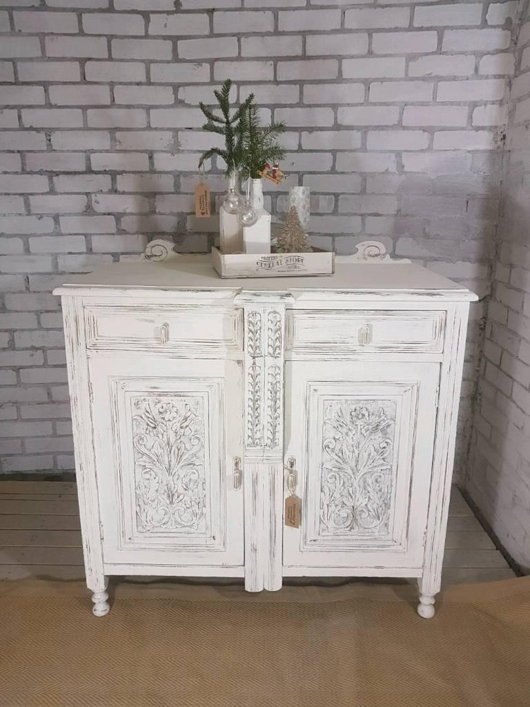 Stunning Antique White Carved 2 Drawer Dresser Sideboard | In within Antique White Distressed 3-Drawer/2-Door Sideboards (Image 29 of 30)