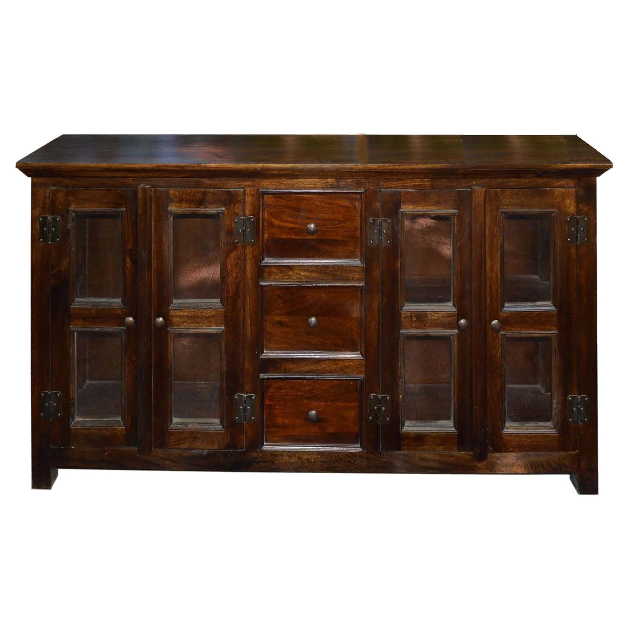 Stylecraft 4 Door Solid Mango Wood Buffet With 3 Drawers - Burnt for Reclaimed 3 Drawer Icebox Sideboards (Image 29 of 30)