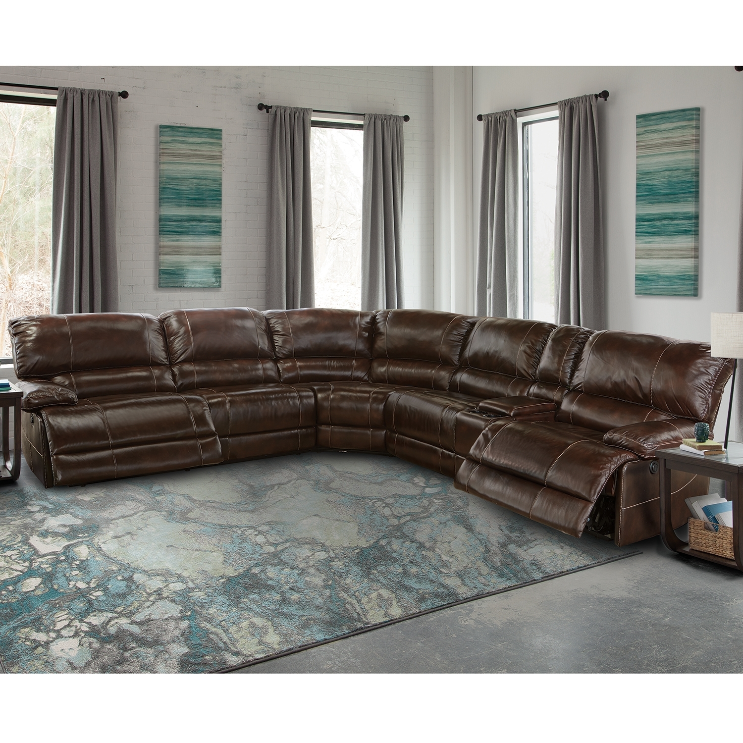 Summerbridge 6 Pc Leather Sectional Sofa - Sofa Design Ideas throughout Travis Cognac Leather 6 Piece Power Reclining Sectionals With Power Headrest & Usb (Image 27 of 30)