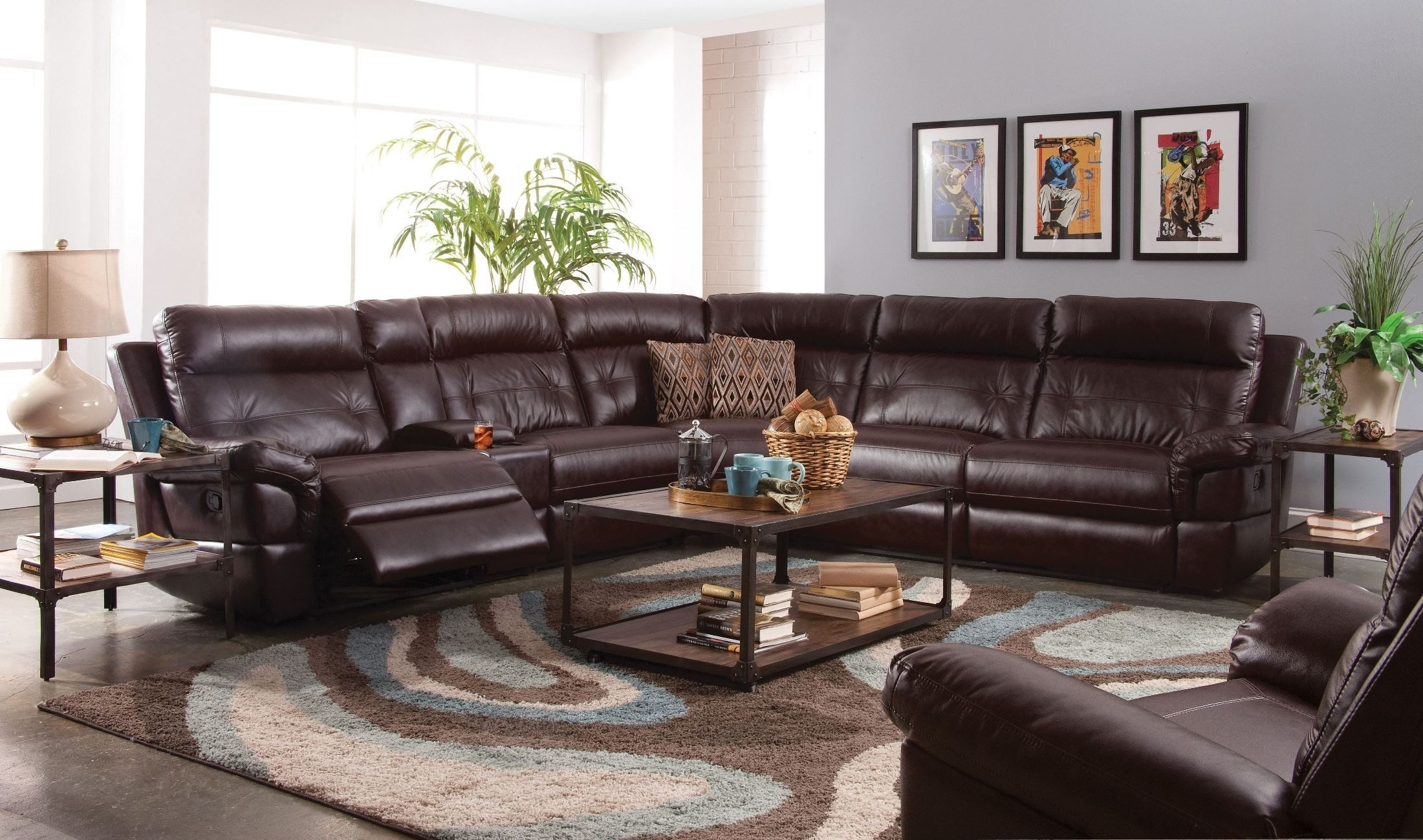 Sussex Lambskin Chocolate Power Reclining Sectional From New Classic throughout Turdur 2 Piece Sectionals With Raf Loveseat (Image 27 of 30)