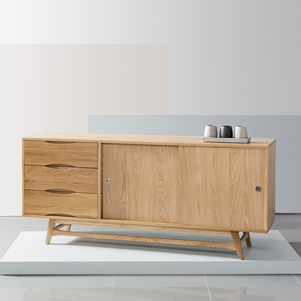 Svend Sideboard - Solid Oak - 180X45X80Cm - White/grey Doors - Icon throughout Tobias 4 Door Sideboards (Image 19 of 30)