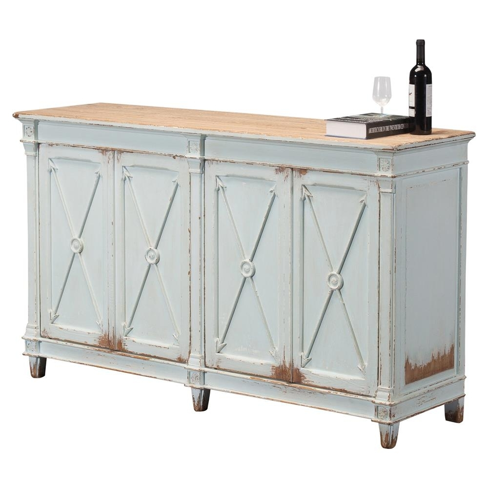 Talia Rustic French Antique Soft Blue Pine Wood Buffet Sideboard with regard to Iron Pine Sideboards (Image 27 of 30)