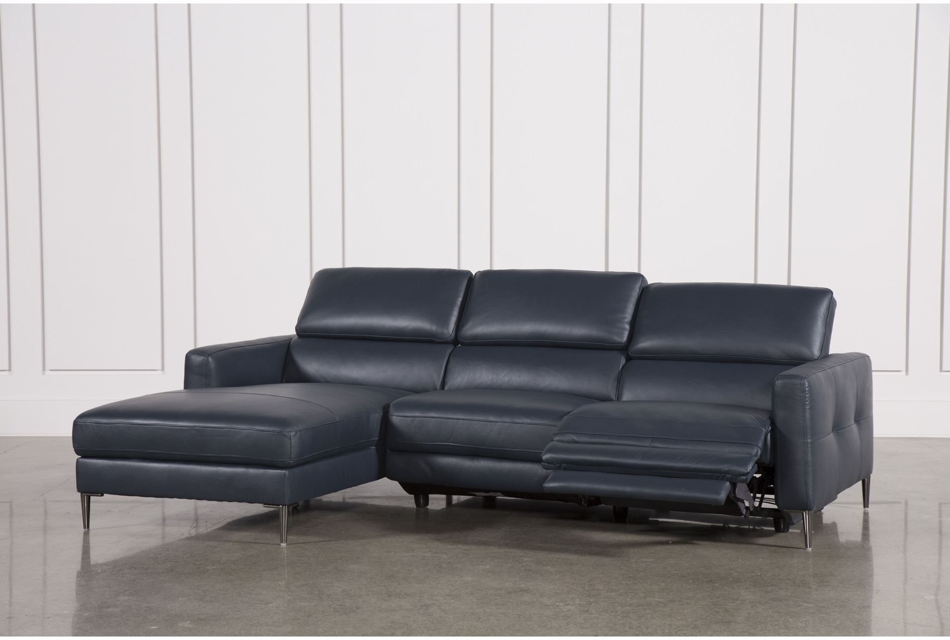 Tara Blue 2 Piece Left Facing Chaise Sofa | Modern Sectional Sofas in Tess 2 Piece Power Reclining Sectionals With Laf Chaise (Image 22 of 30)