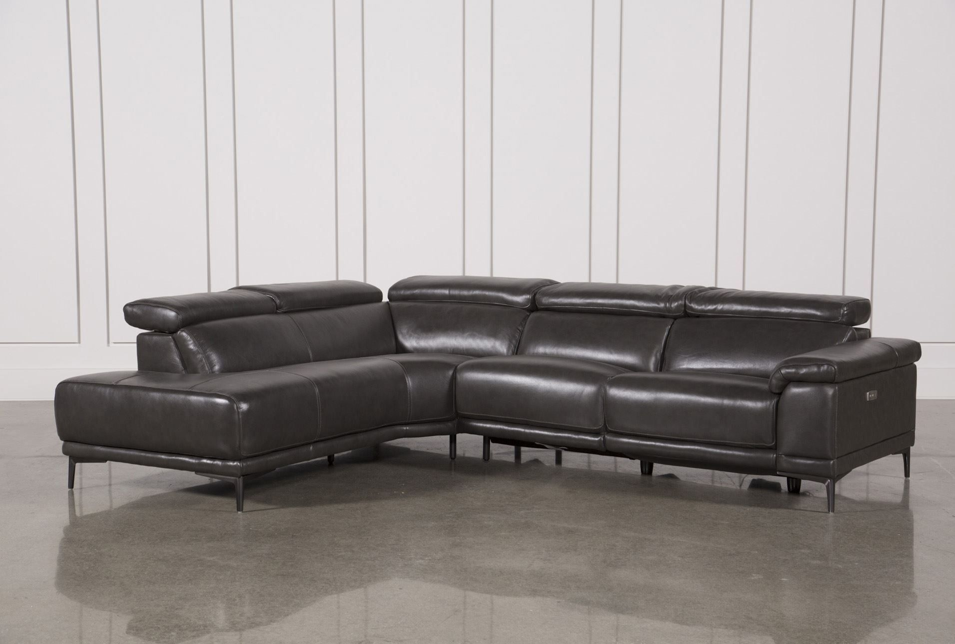 Tatum Dark Grey 2 Piece Sectional W/laf Chaise | Living Room inside Marcus Grey 6 Piece Sectionals With  Power Headrest & Usb (Image 29 of 30)