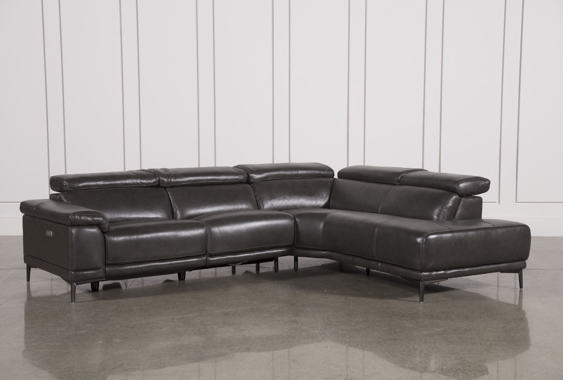 Tatum Dark Grey 2 Piece Sectional W/raf Chaise | New Apt | Pinterest within Marcus Grey 6 Piece Sectionals With  Power Headrest & Usb (Image 30 of 30)