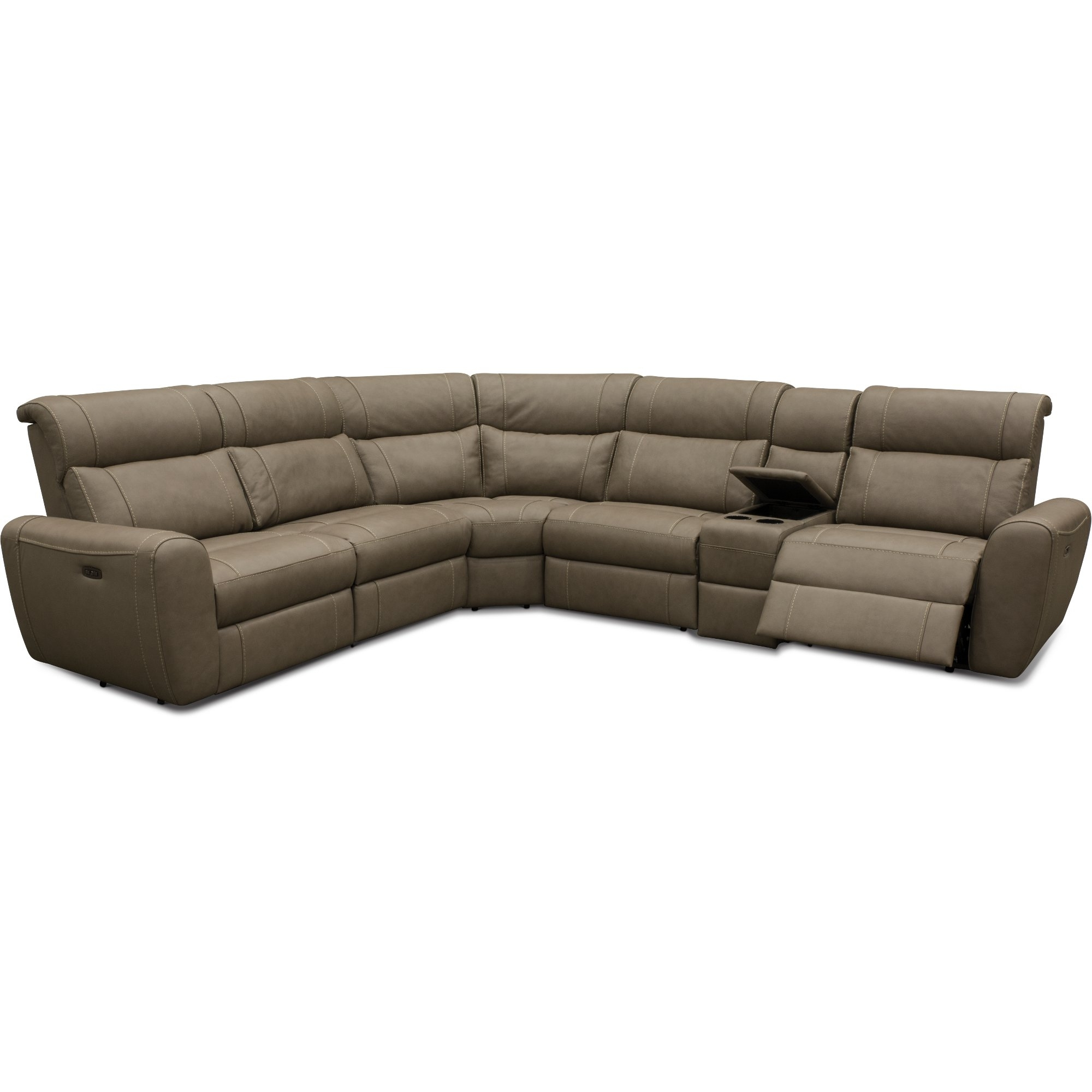 Taupe Leather-Match 6 Piece Power Sectional Sofa - Robert | Rc intended for Denali Charcoal Grey 6 Piece Reclining Sectionals With 2 Power Headrests (Image 30 of 30)