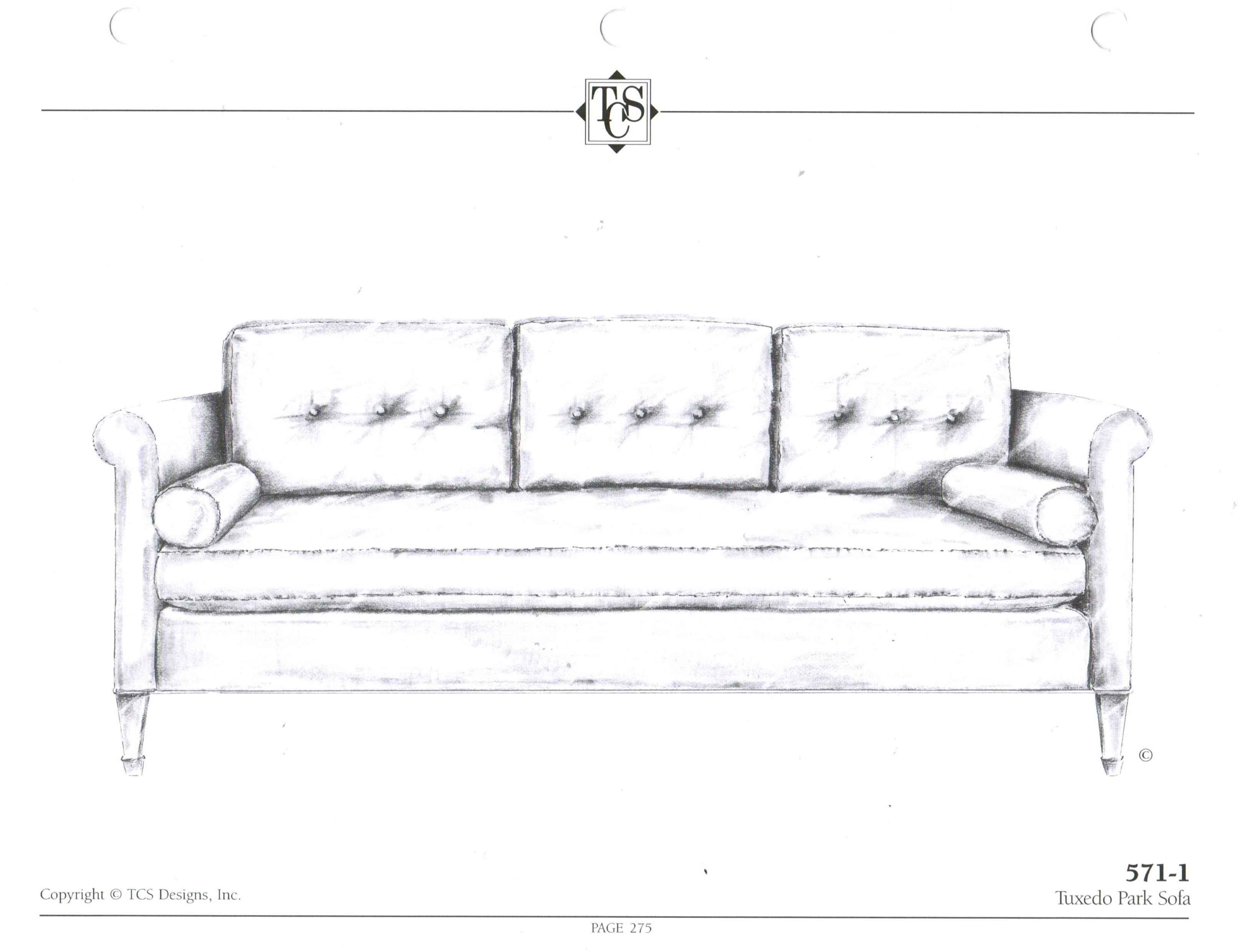"Tcs - 571-1 Tuxedo Park Sofa Standard Size: 82""w X 37""d X 33""h. Tcs in Turdur 2 Piece Sectionals With Laf Loveseat (Image 30 of 30)"