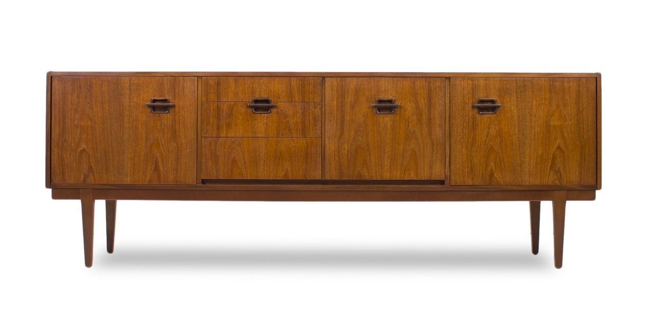 Teak Mid Century Modern Credenza,dresser,media Console, With regarding Moraga Live Edge 8 Door Sideboards (Image 29 of 30)
