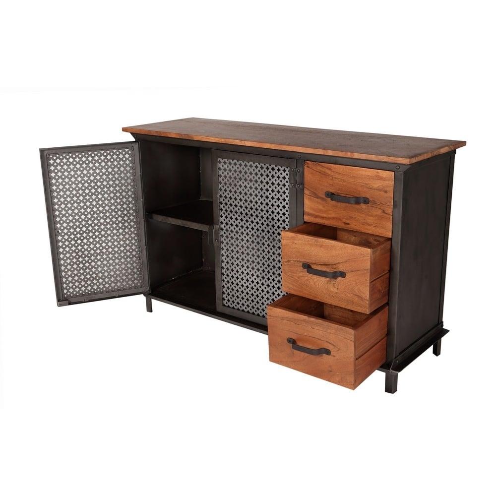 Telford Industrial Sideboard 3 Drawers . Metal With Wooden Top throughout Industrial 3 Drawer 3 Door Sideboards (Image 27 of 30)