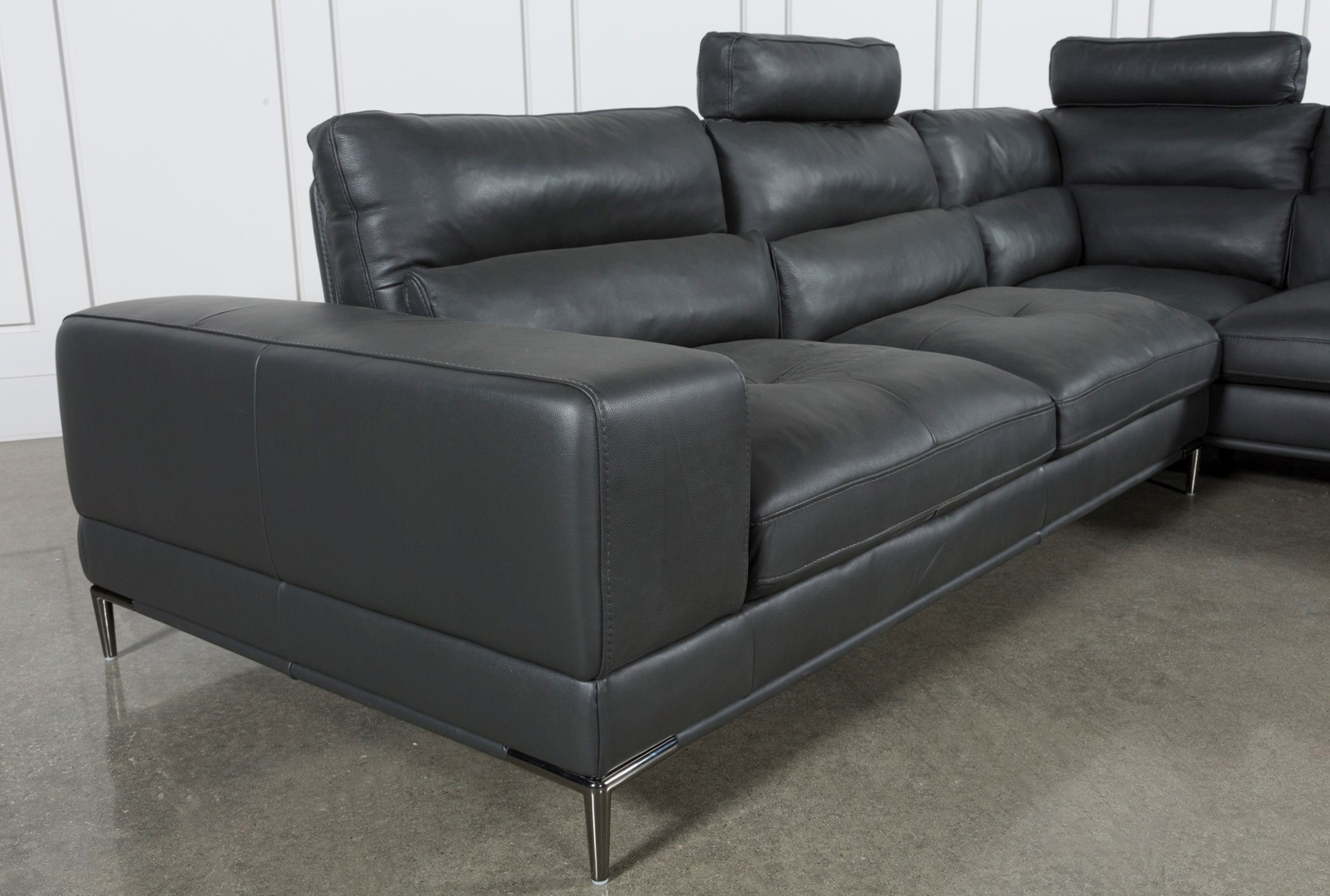 Tenny Dark Grey 2 Piece Right Facing Chaise Sectional W/2 Headrest pertaining to Tenny Dark Grey 2 Piece Right Facing Chaise Sectionals With 2 Headrest (Image 30 of 30)