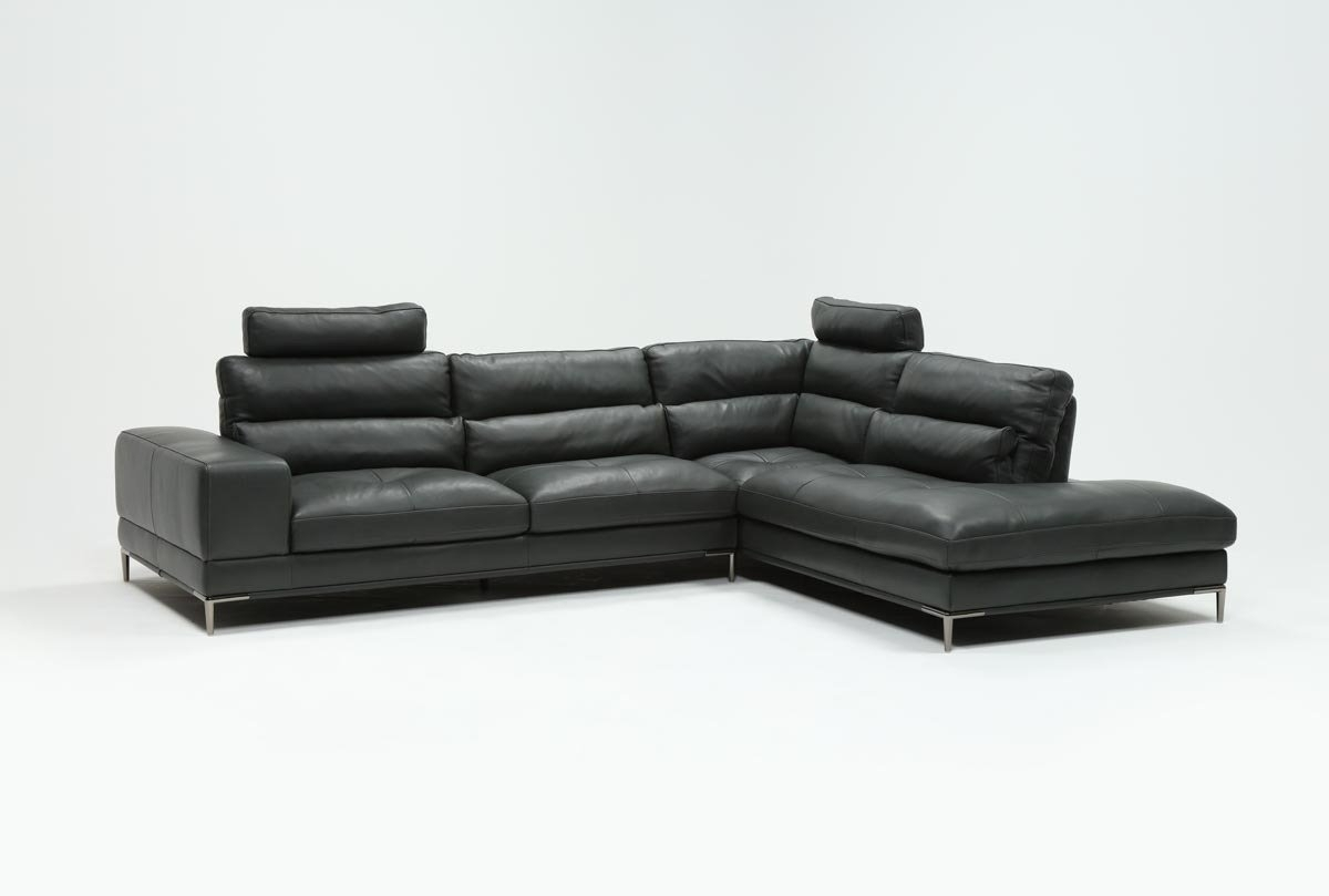 Tenny Dark Grey 2 Piece Right Facing Chaise Sectional W/2 Headrest within Tenny Cognac 2 Piece Left Facing Chaise Sectionals With 2 Headrest (Image 30 of 30)