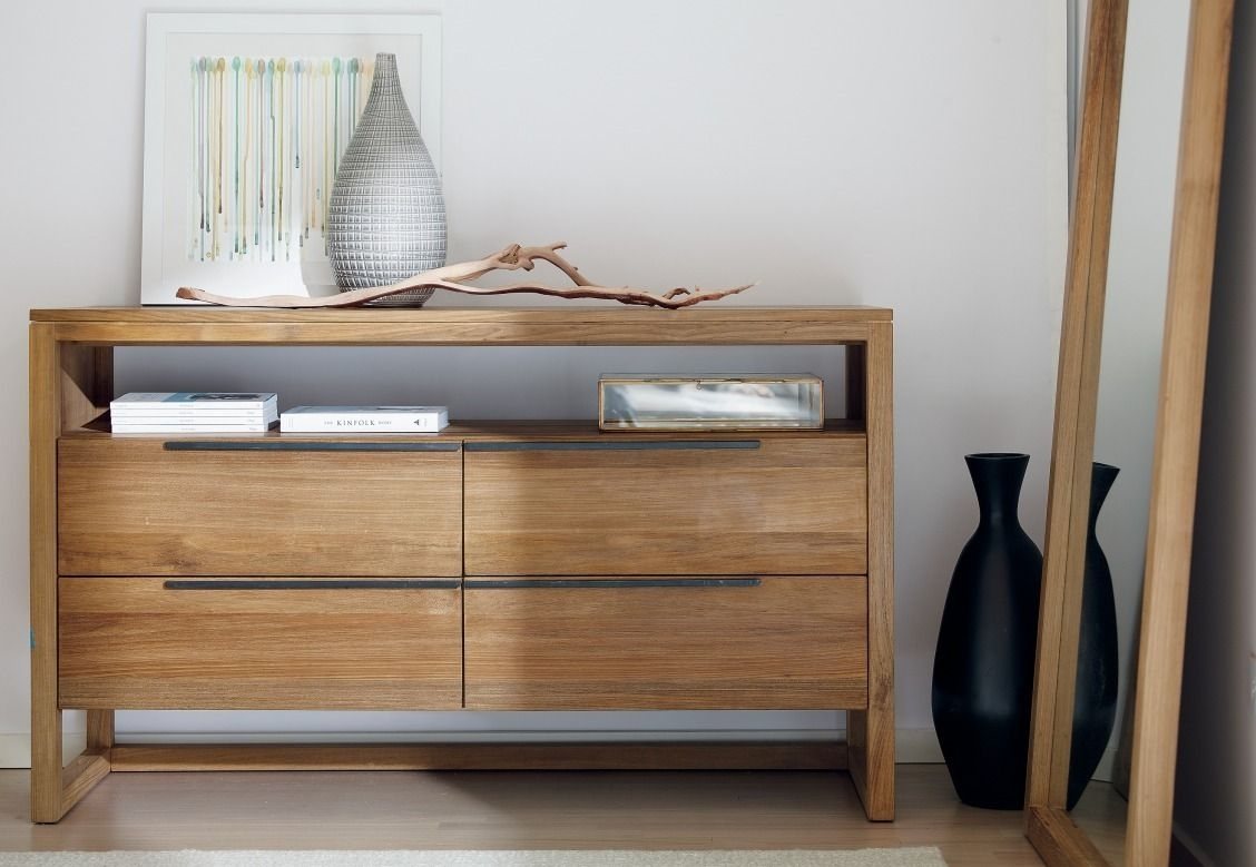 The Linea 4-Drawer Dresser's Clean, Linear Styling Is Enhanced for Open Shelf Brass 4-Drawer Sideboards (Image 21 of 30)