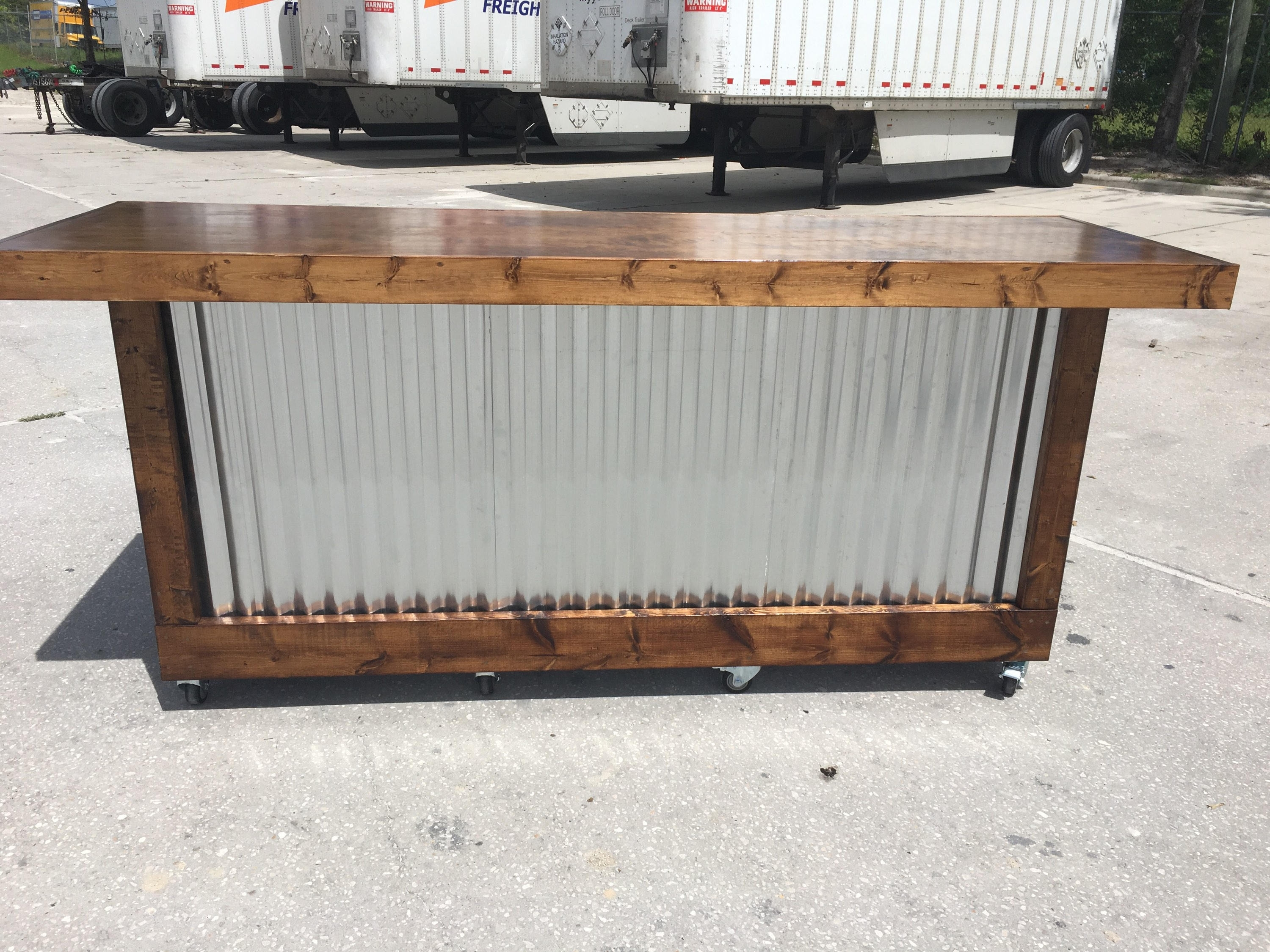The Provincial 8 Foot Mobile Corrugated Metal Bar Sales | Etsy inside Corrugated Metal Sideboards (Image 28 of 30)