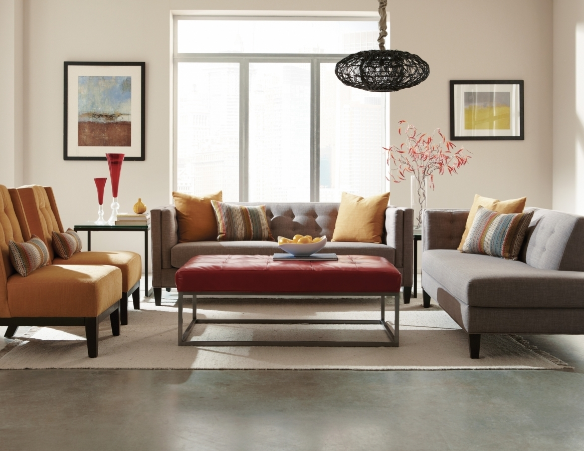 The Strathmore Collection | Mid-Century Sectional | Jonathan Louis with Tatum Dark Grey 2 Piece Sectionals With Laf Chaise (Image 30 of 30)
