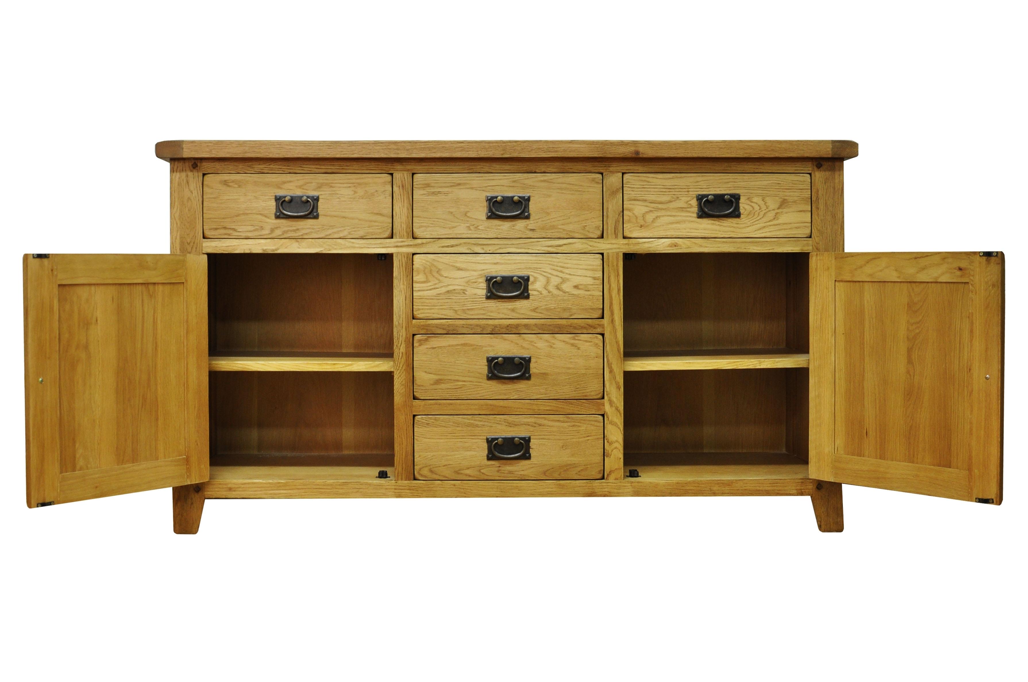 Thornton Oak Large 2 Door 6 Drawer Sideboard intended for 2-Drawer Sideboards (Image 29 of 30)