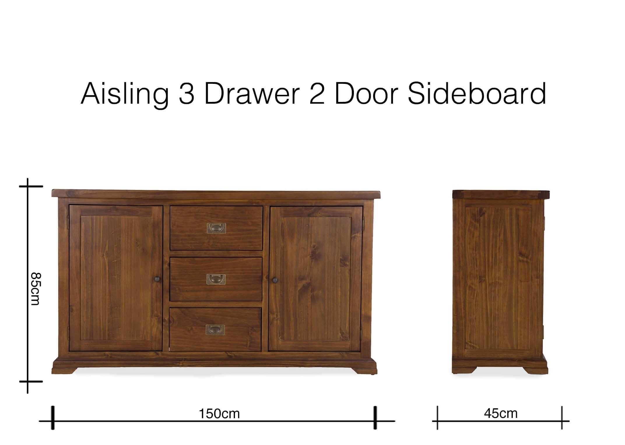 Three Drawer And Two Door Sideboard - Aisling - Ez Living Furniture regarding Walnut Finish 4-Door Sideboards (Image 28 of 30)