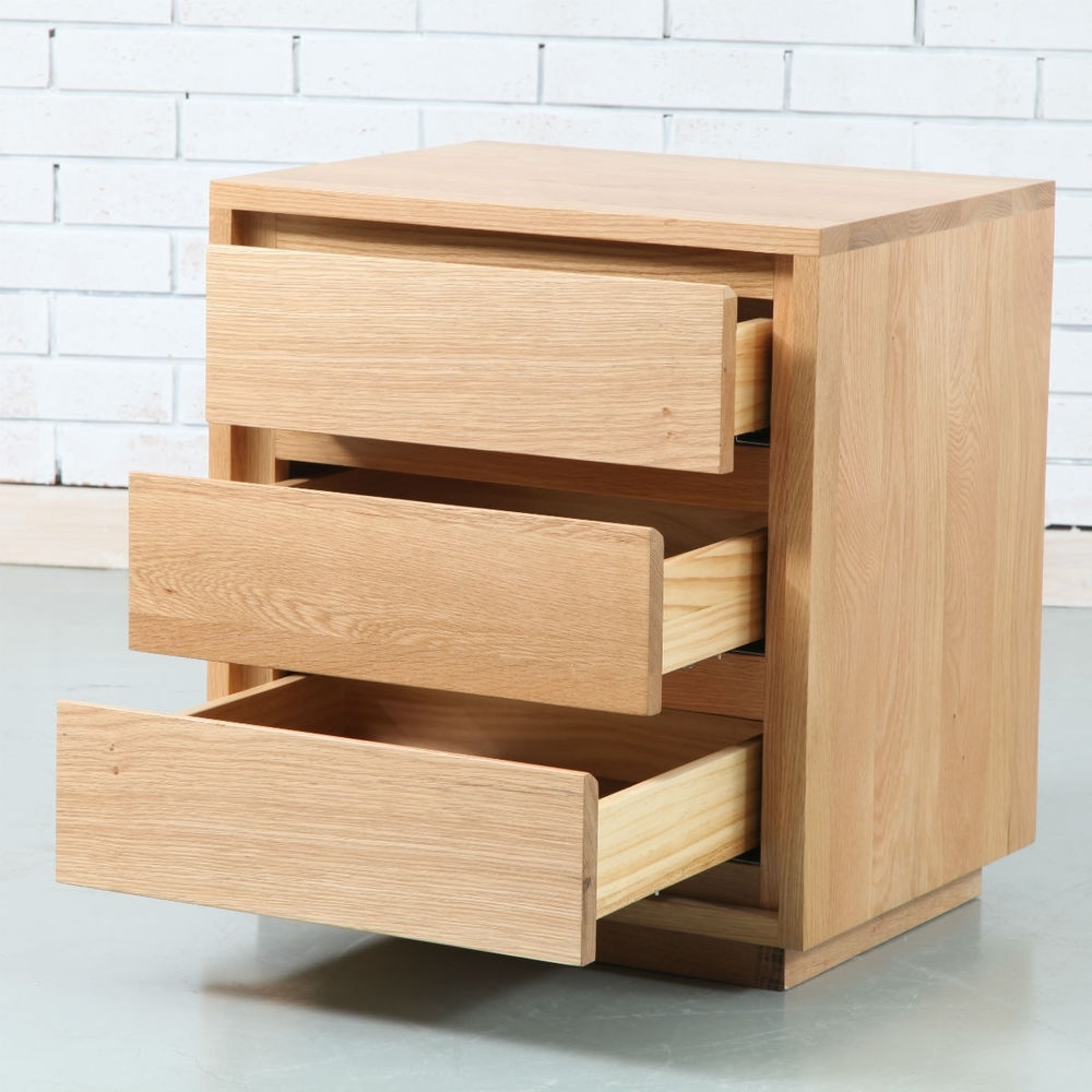 Tobias 3 Drawer Bedside Table - Solid Oak - 50X40X55Cm - Icondesign with Tobias 4 Door Sideboards (Image 23 of 30)