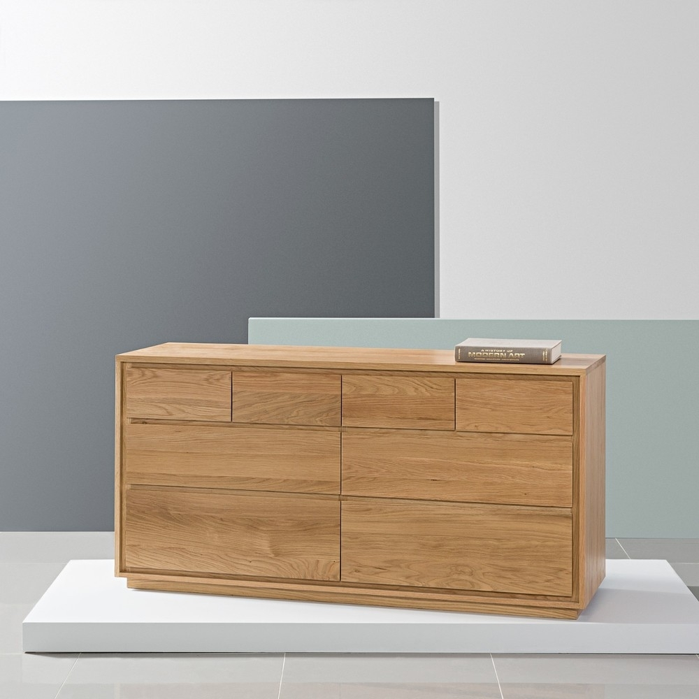 Tobias 8 Drawer Chest - Solid Oak - 150X45X76Cm - Icondesign for Tobias 4 Door Sideboards (Image 24 of 30)