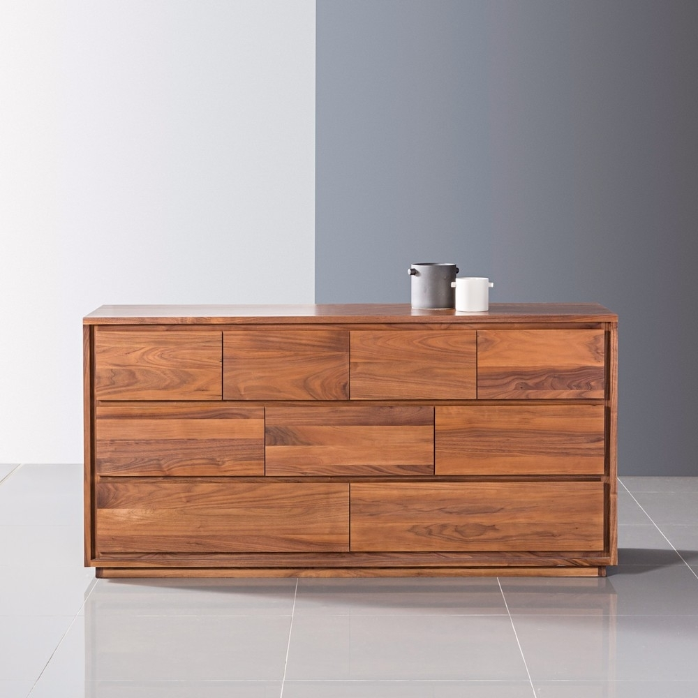 Tobias 9 Drawer Chest - Solid Walnut - 160X45X85Cm - Icondesign pertaining to Tobias 4 Door Sideboards (Image 27 of 30)
