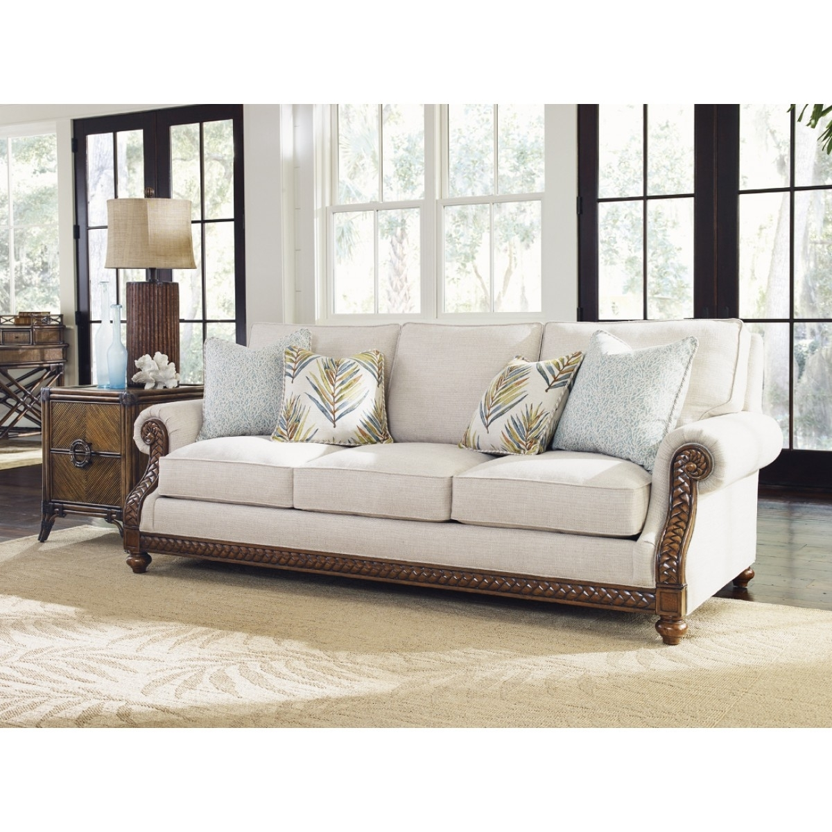 Tommy Bahama Home Bali Hai Shoreline Sofa With Marcus Oyster 6 Piece Sectionals With Power Headrest And Usb (View 9 of 30)