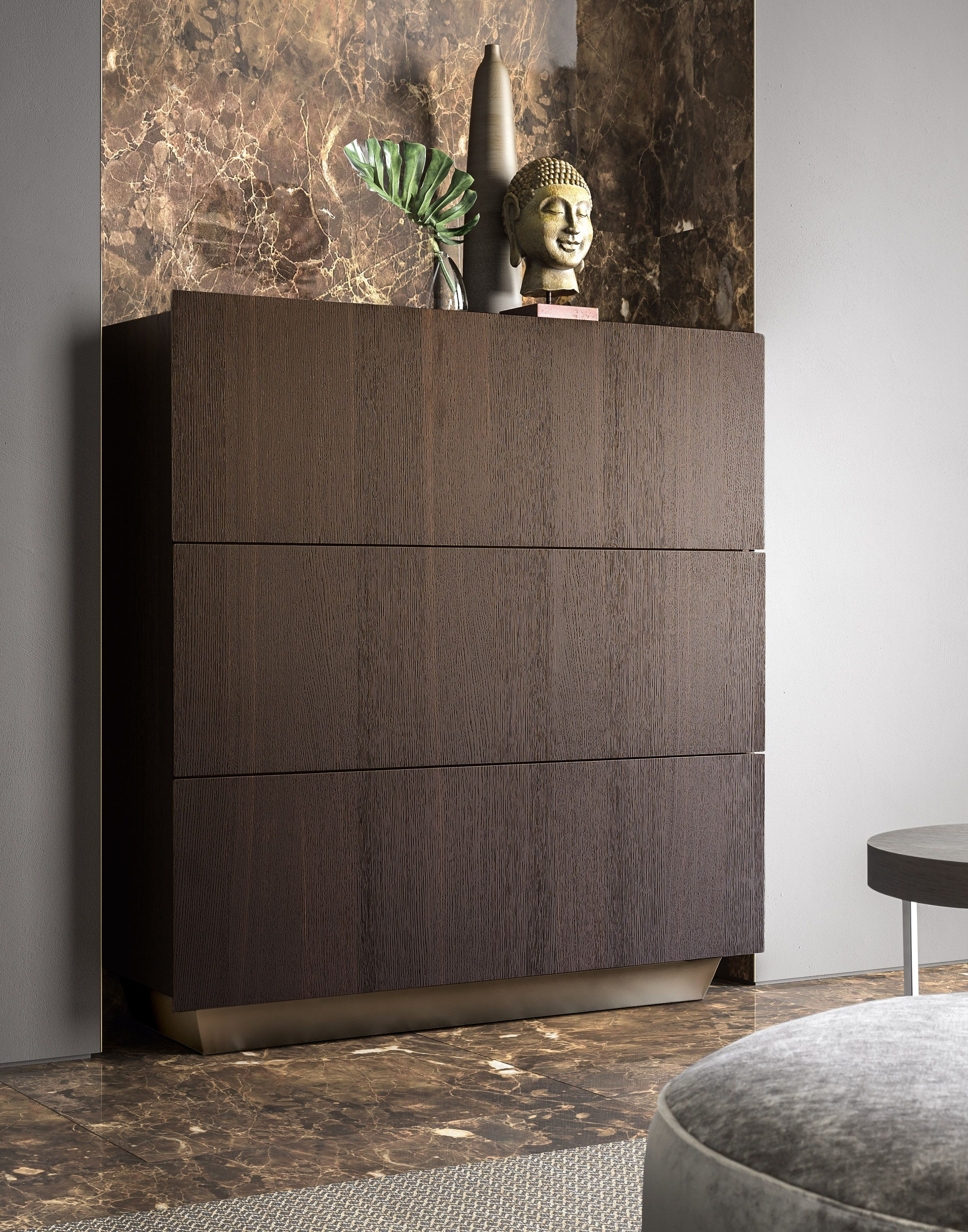 Tosca Sideboard With Burnt Oak Exterior And Bronze Base | Pianca intended for Burnt Oak Wood Sideboards (Image 30 of 30)